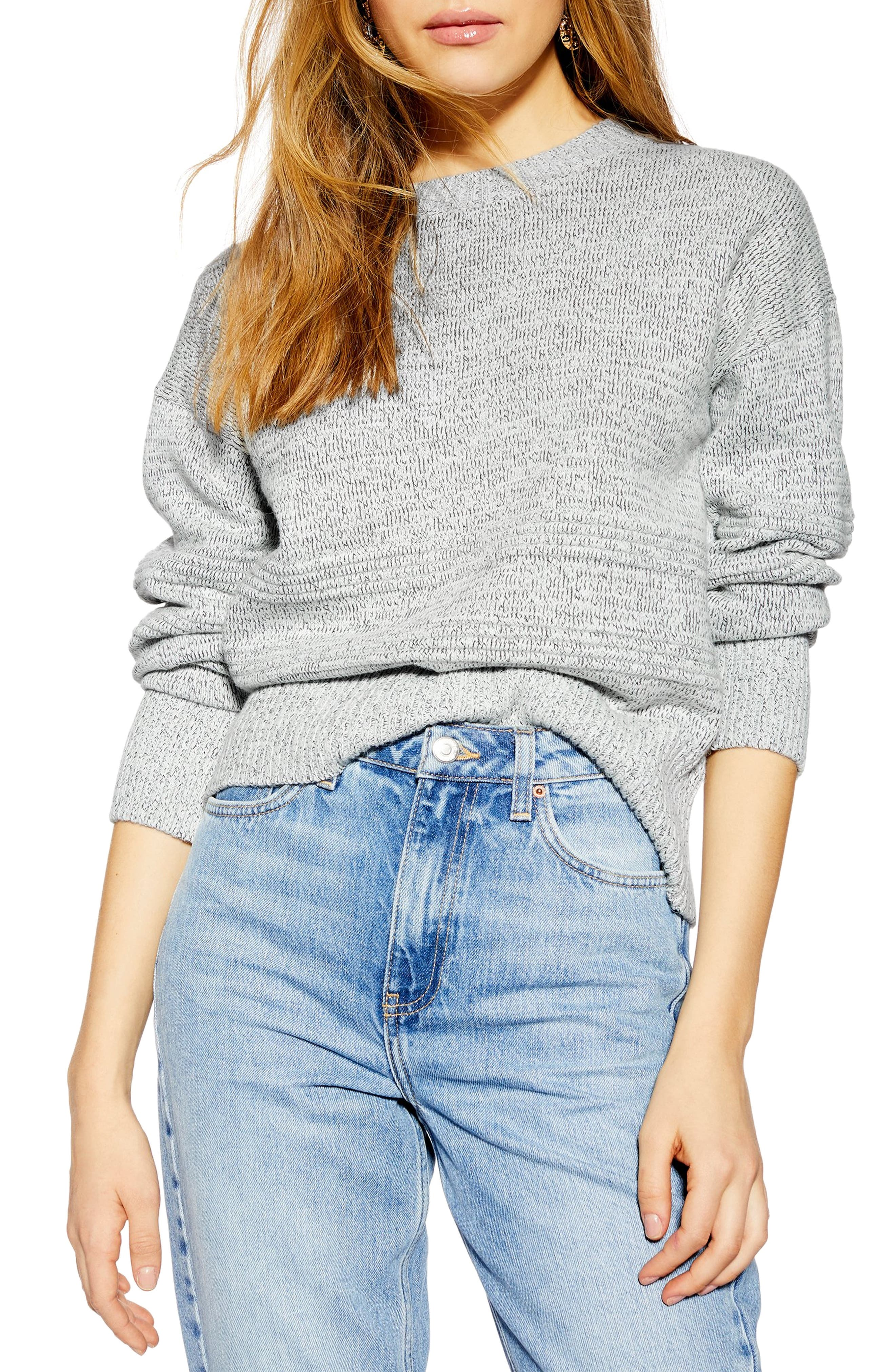 TOPSHOP, Ottoman Stitch Sweater, Main thumbnail 1, color, GREY MARL