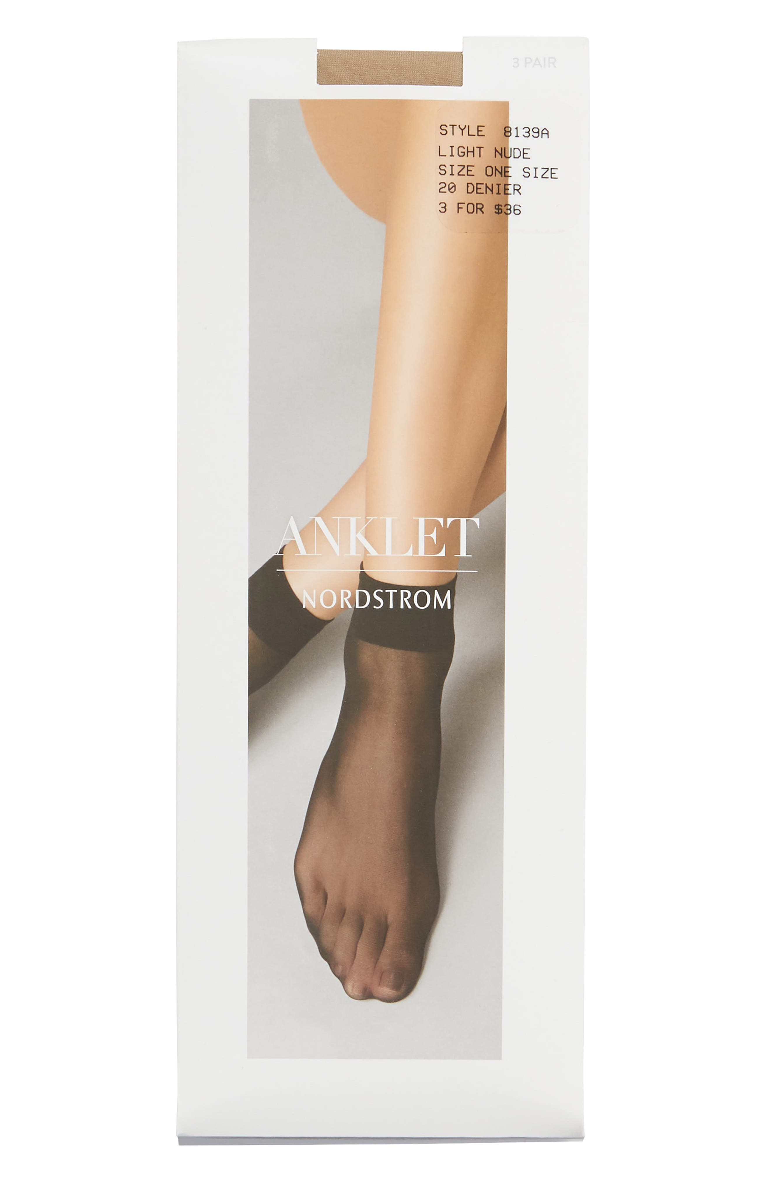 NORDSTROM 3-Pack Sheer Anklet, Main, color, LIGHT NUDE