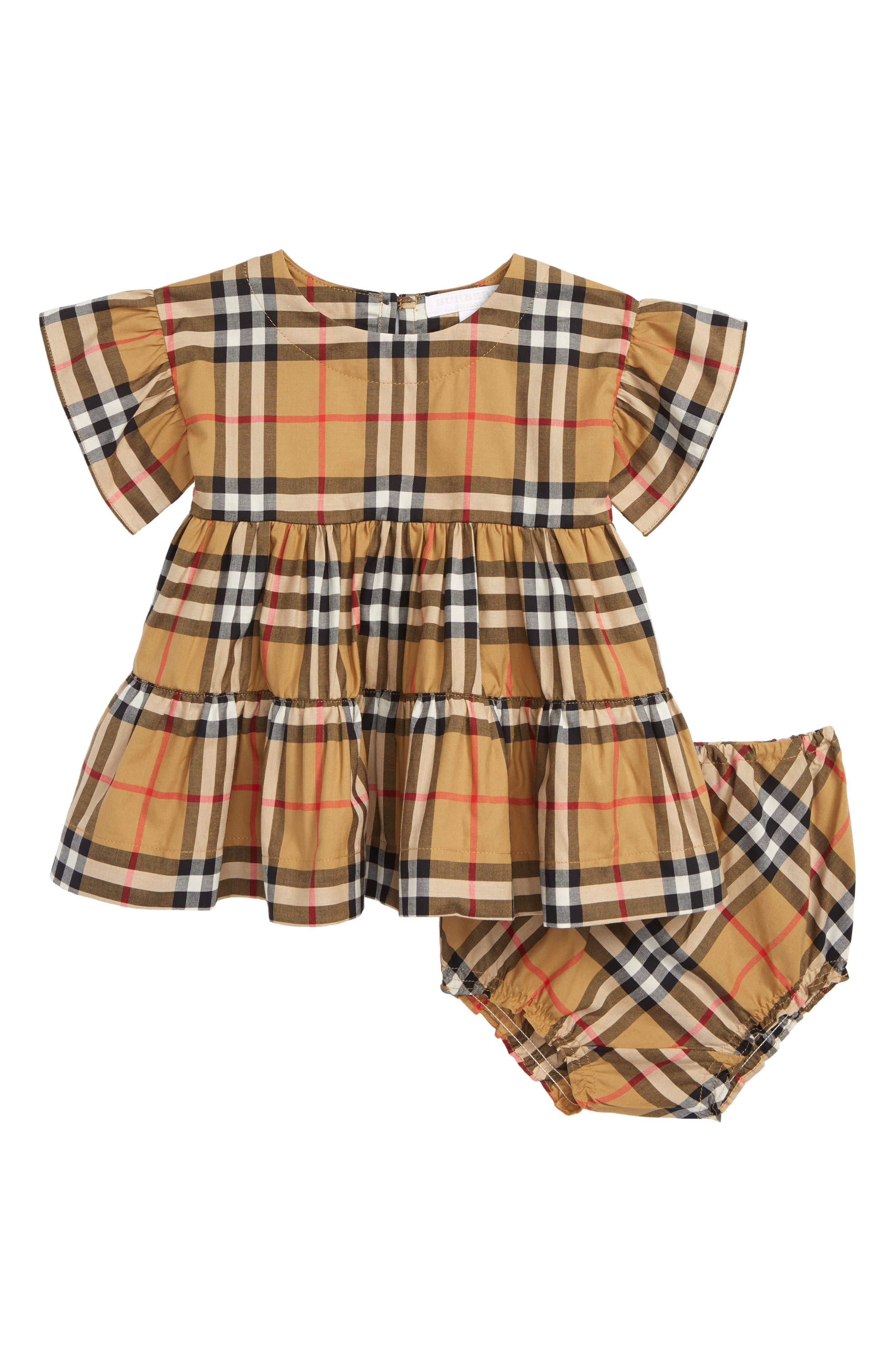 BURBERRY, Alima Check Dress, Main thumbnail 1, color, ANTIQUE YELLOW