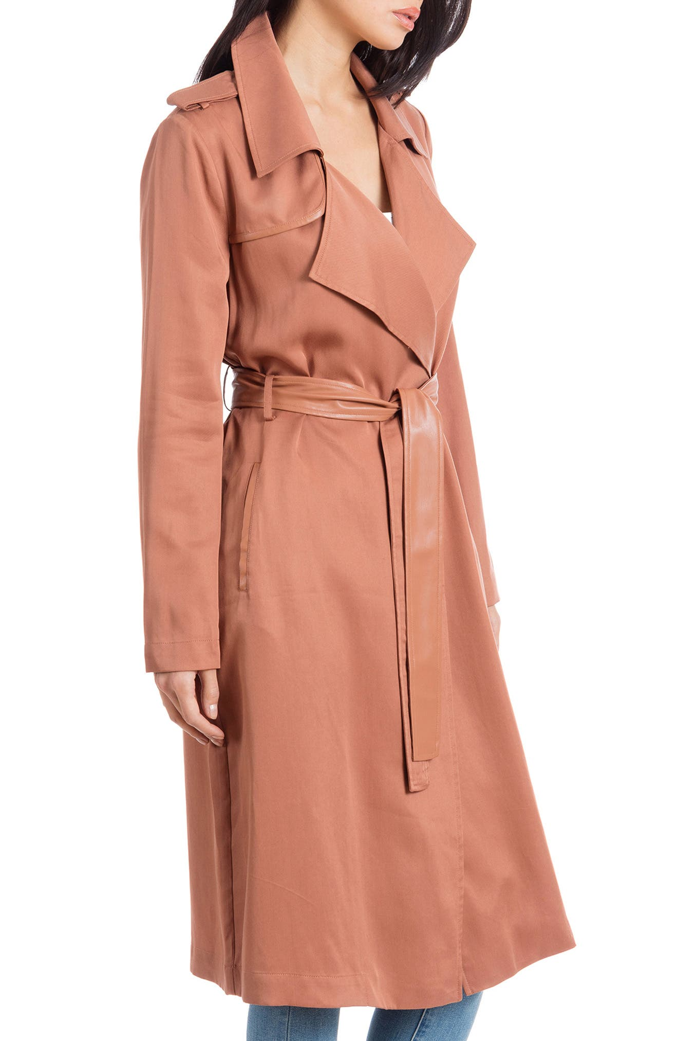 BADGLEY MISCHKA COLLECTION, Badgley Mischka Faux Leather Trim Long Trench Coat, Alternate thumbnail 3, color, CEDAR