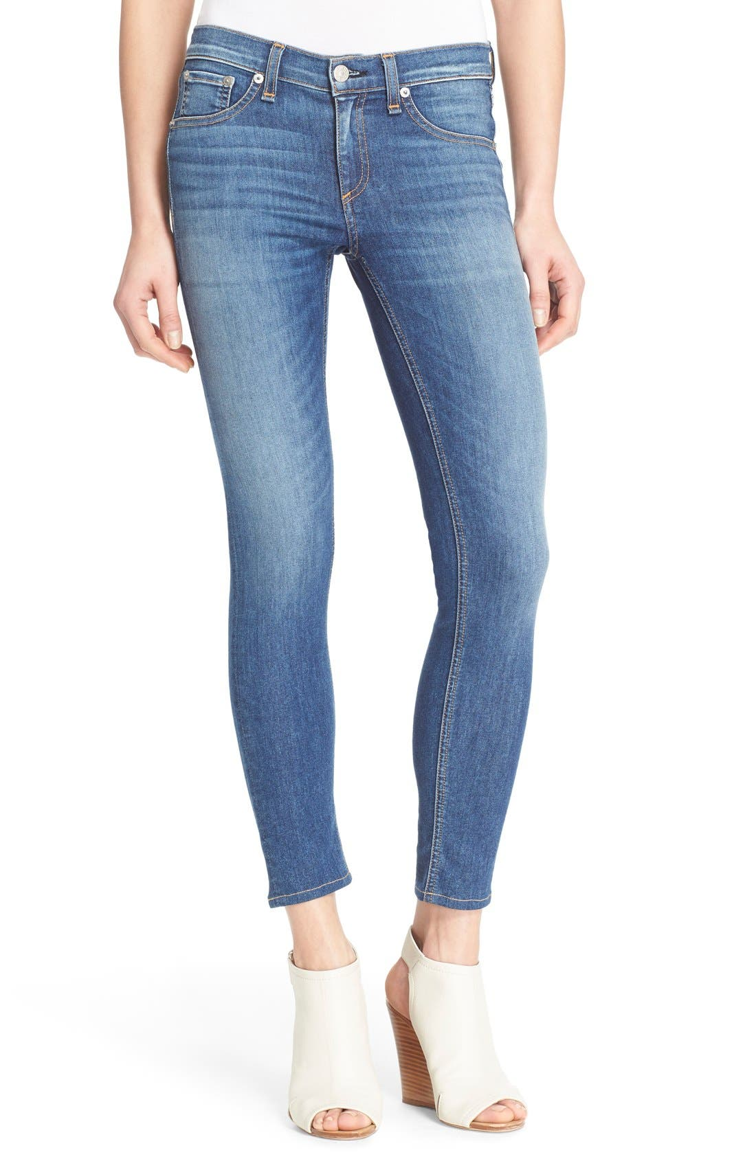 RAG & BONE, Capri Crop Skinny Jeans, Main thumbnail 1, color, RAE