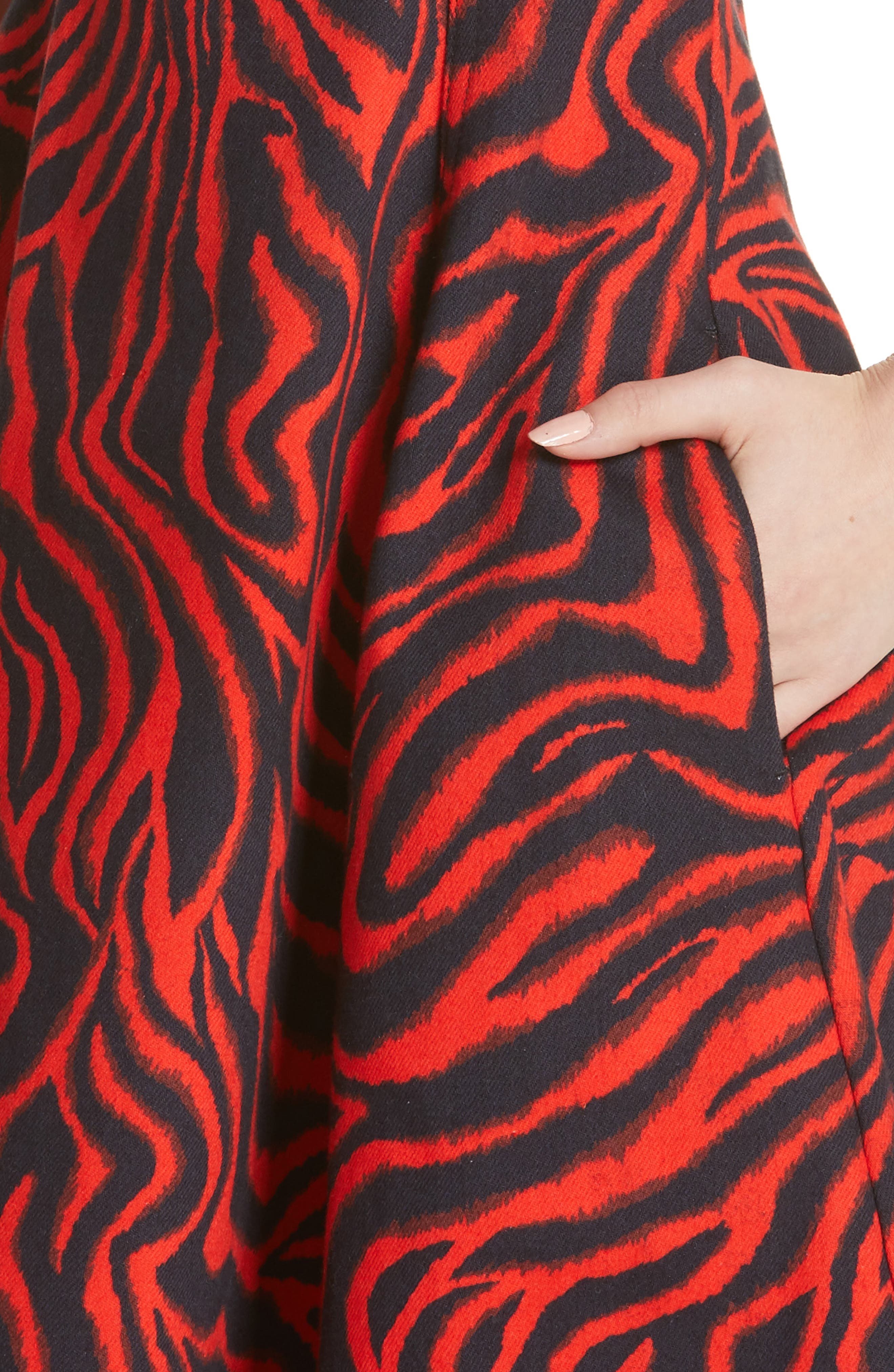 CALVIN KLEIN 205W39NYC, Zebra Print Denim A-Line Dress, Alternate thumbnail 5, color, RED ZEBRA
