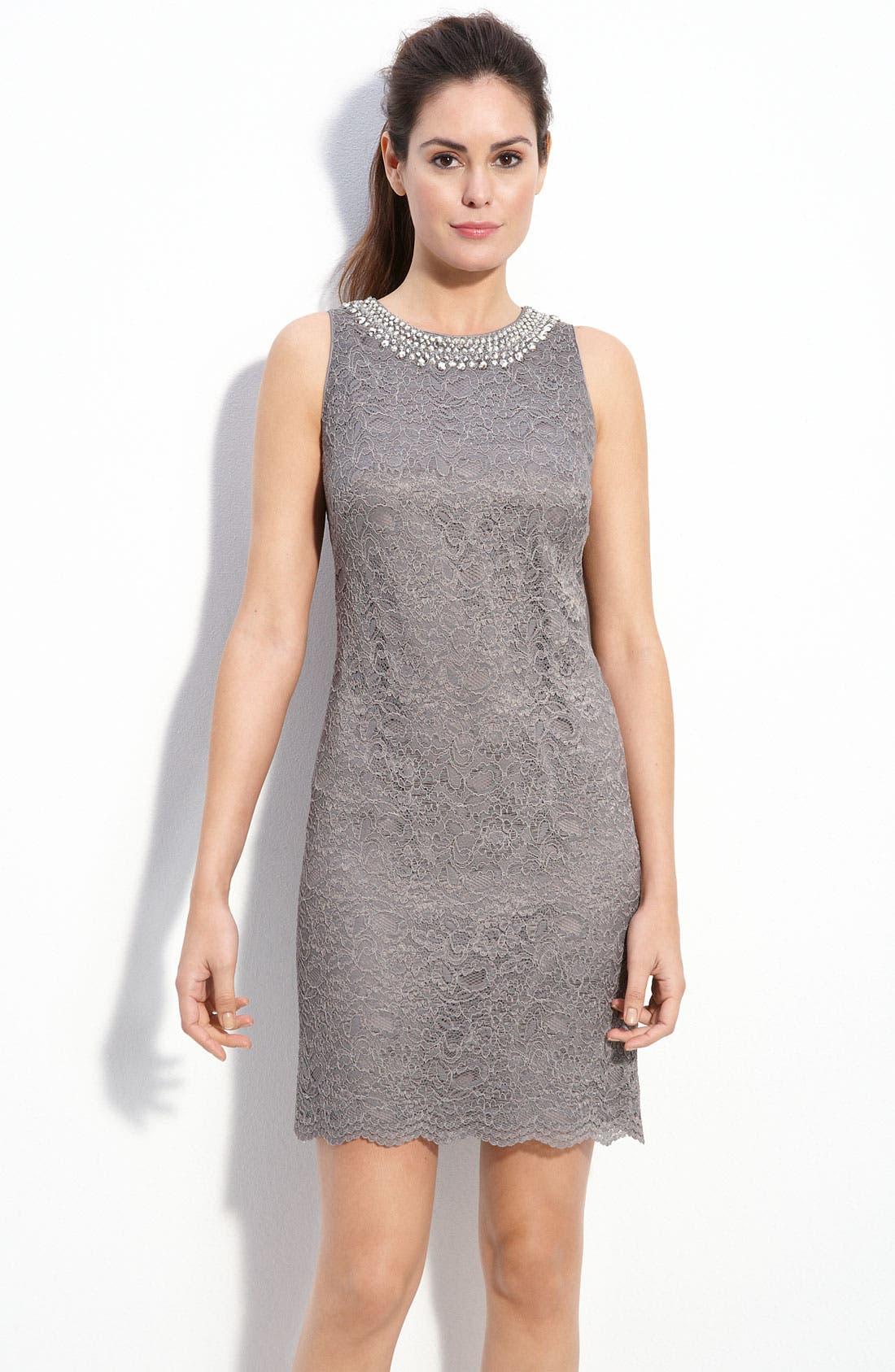 MAGGY LONDON, Beaded Lace Shift Dress, Main thumbnail 1, color, 020