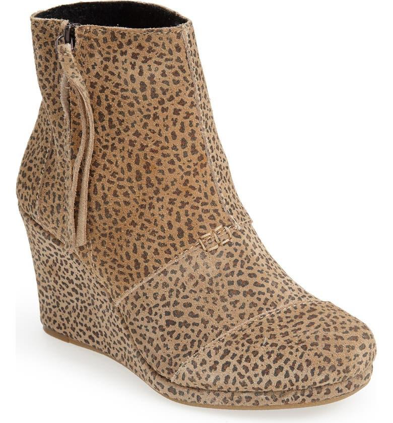 b4de1e8e2a0 TOMS  Desert - Cheetah  Suede Wedge Bootie (Women)
