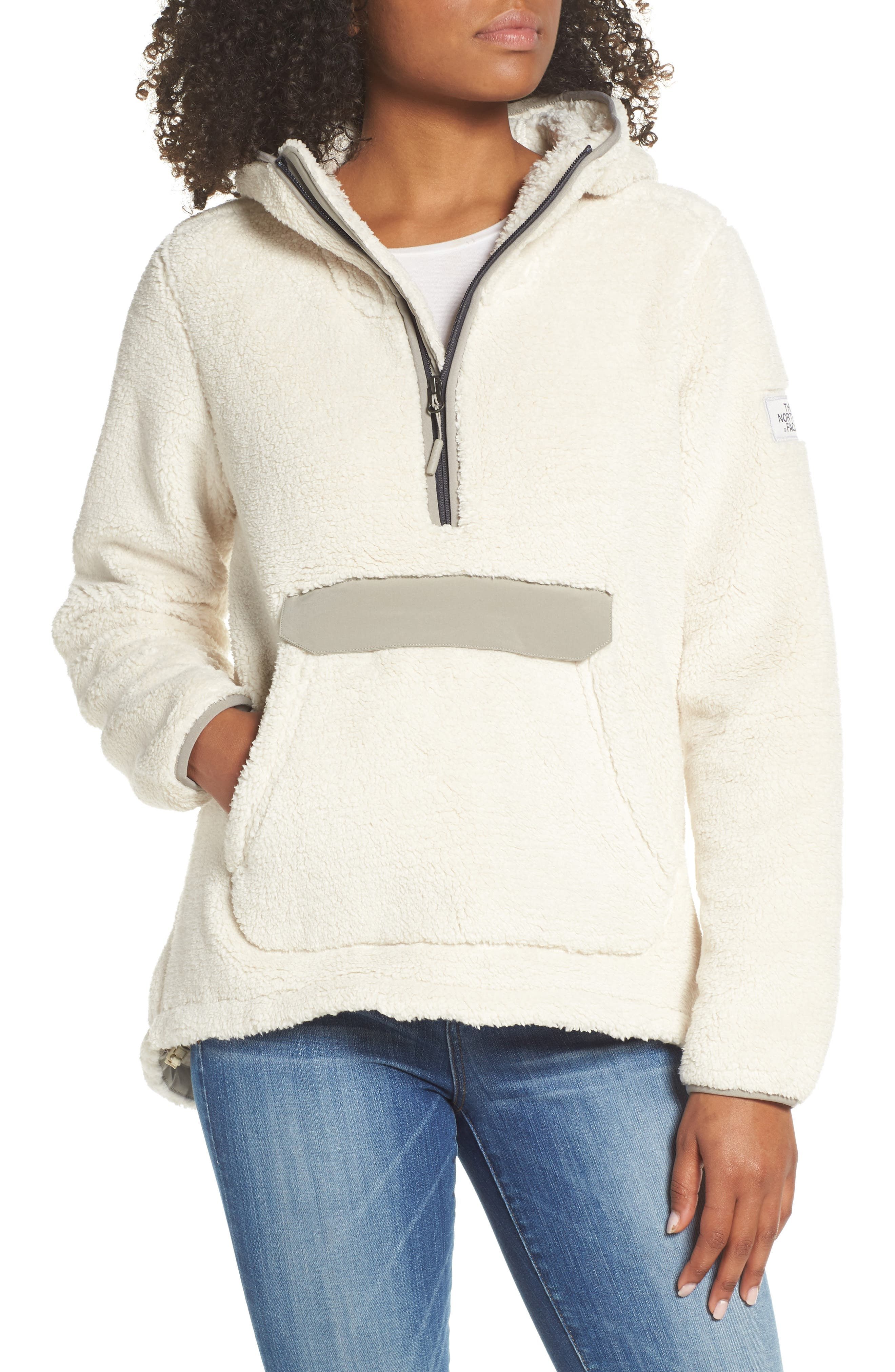 THE NORTH FACE, Campshire High Pile Fleece Pullover Hoodie, Main thumbnail 1, color, VINTAGE WHITE/ GREY