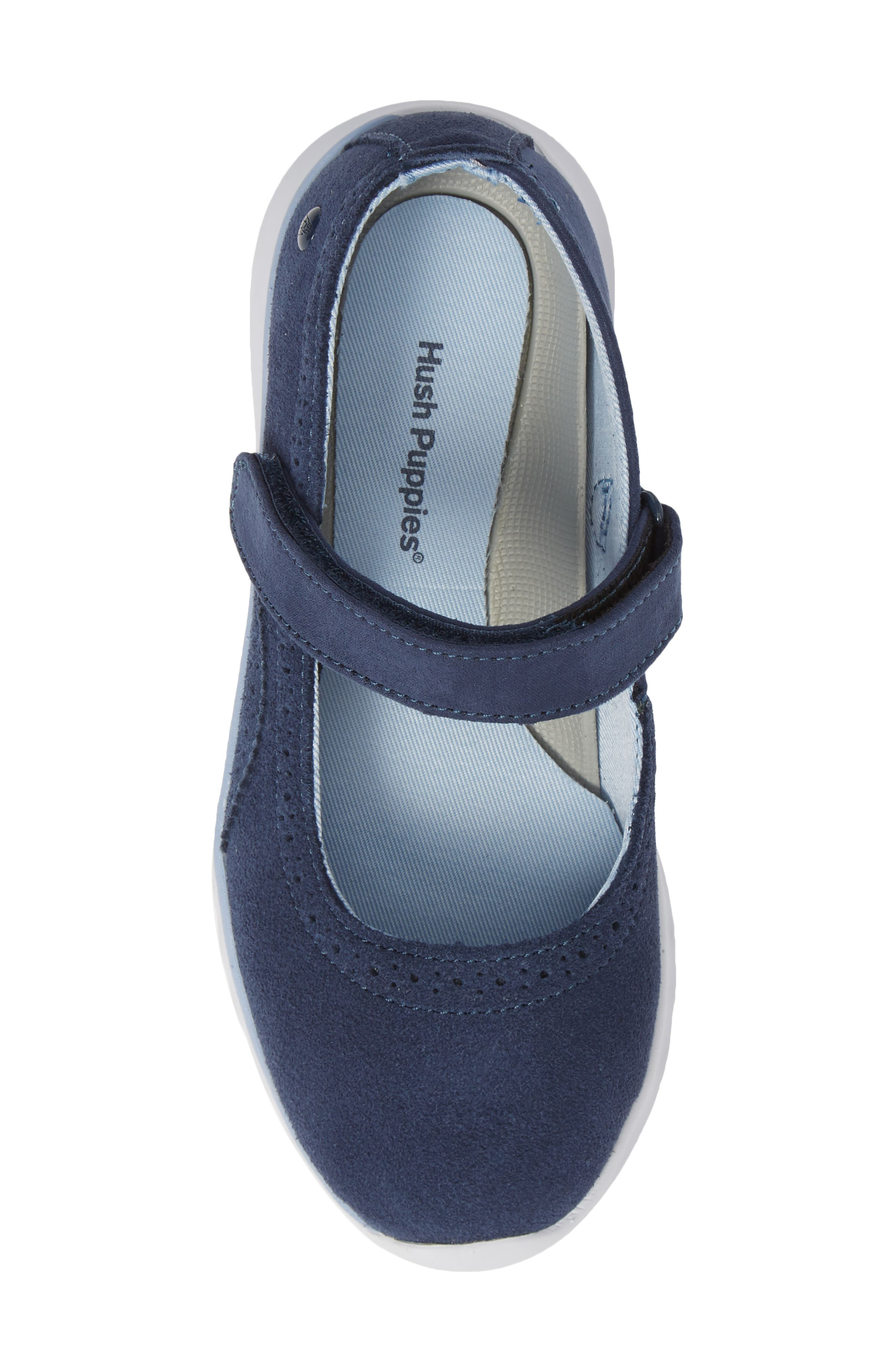 HUSH PUPPIES<SUP>®</SUP>, Flote Tricia Mary Jane Flat, Alternate thumbnail 5, color, NAVY