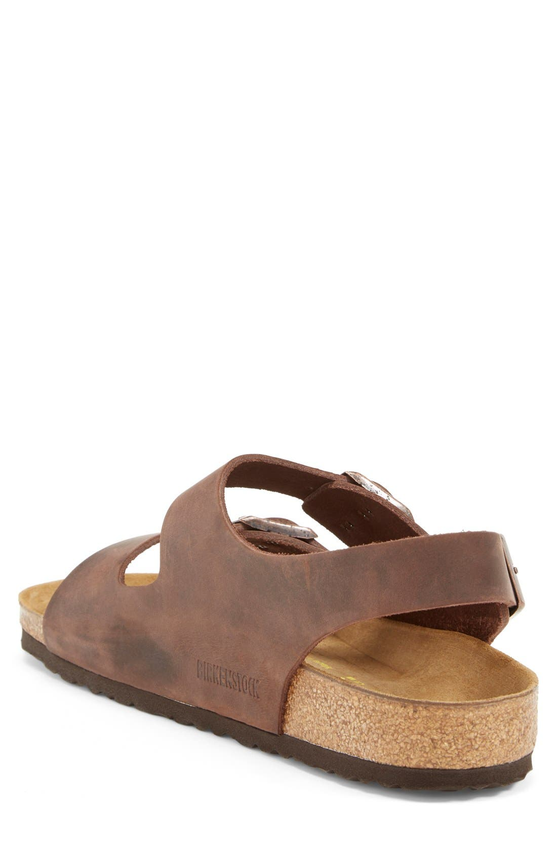 BIRKENSTOCK, 'Milano' Sandal, Alternate thumbnail 2, color, HABANA OILED