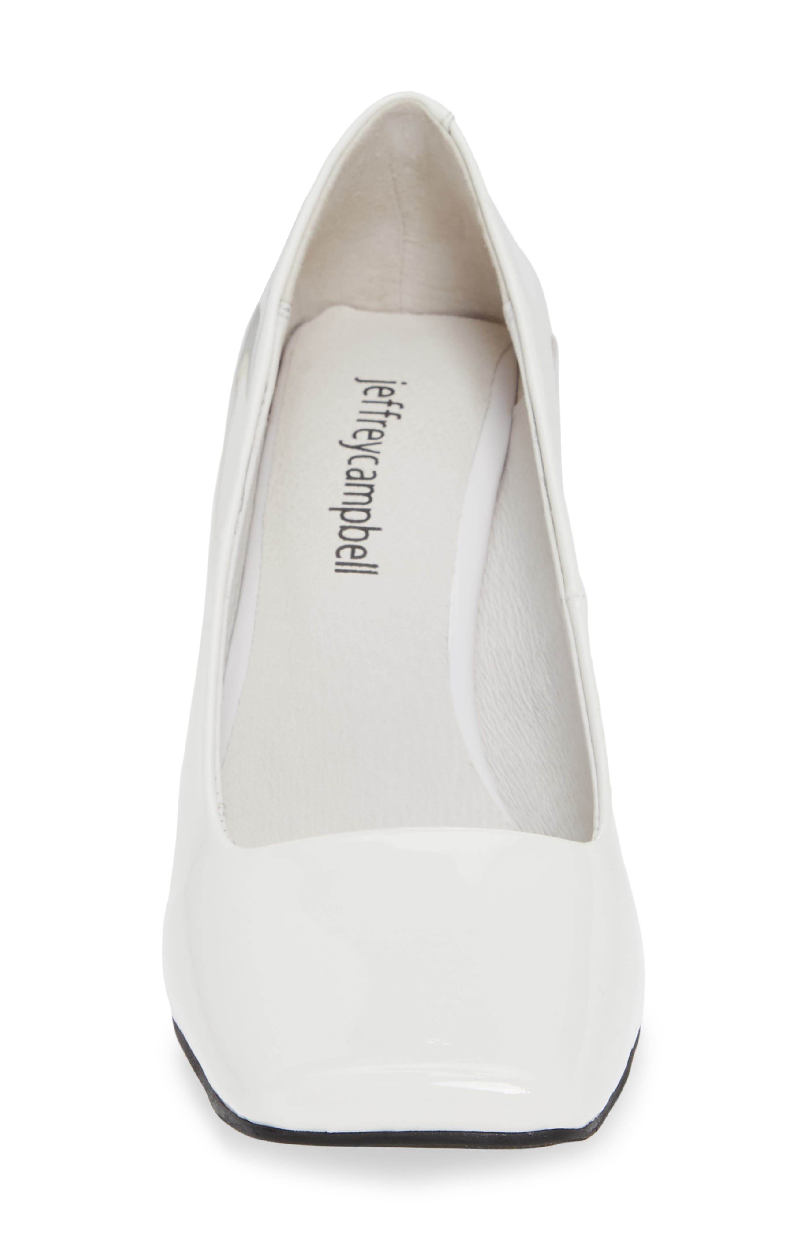 JEFFREY CAMPBELL, Graff Clear Heel Pump, Alternate thumbnail 4, color, WHITE PATENT LEATHER