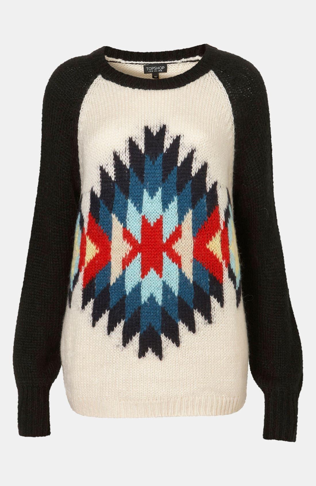 TOPSHOP, 'Eye Dazzler' Sweater, Main thumbnail 1, color, 901