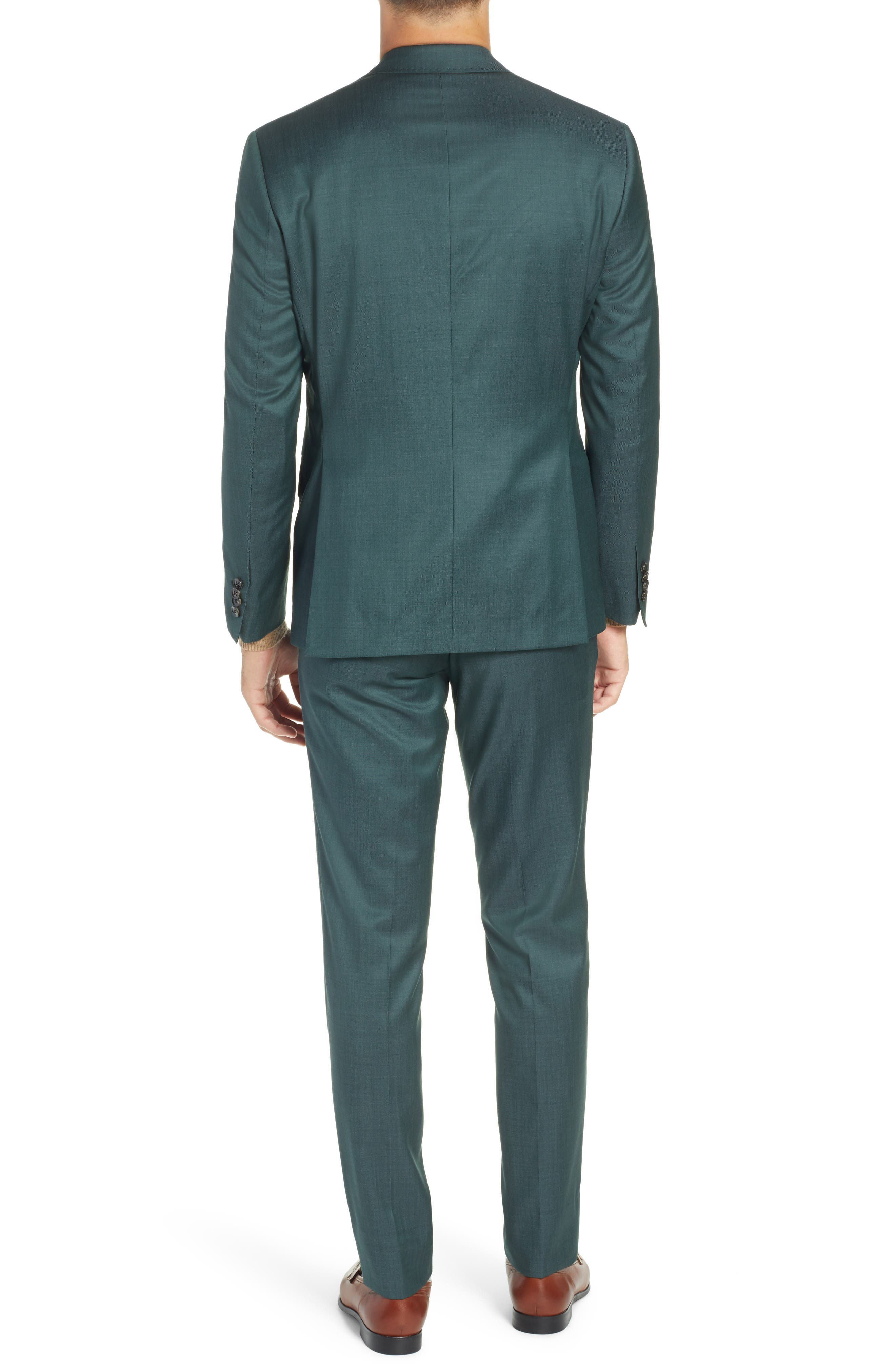 TED BAKER LONDON, Roger Slim Fit Solid Wool Suit, Alternate thumbnail 2, color, GREEN