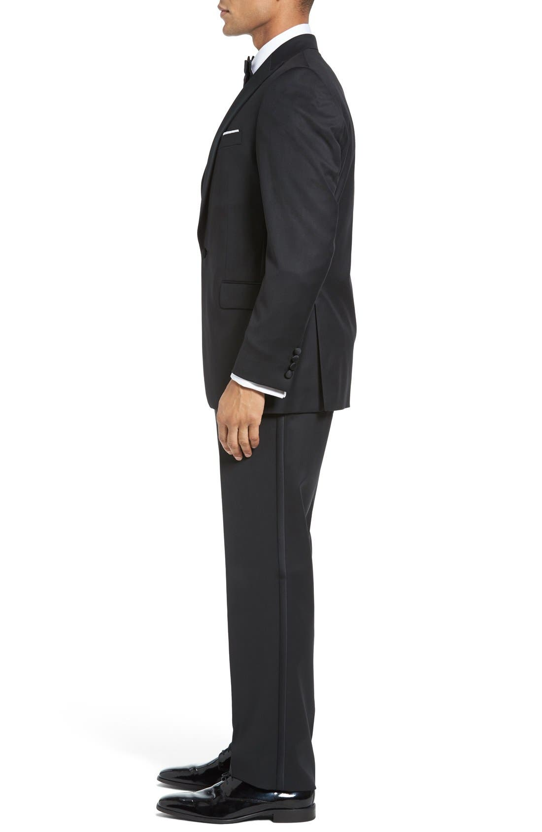 DAVID DONAHUE, Russell Classic Fit Loro Piana Wool Tuxedo, Alternate thumbnail 3, color, BLACK