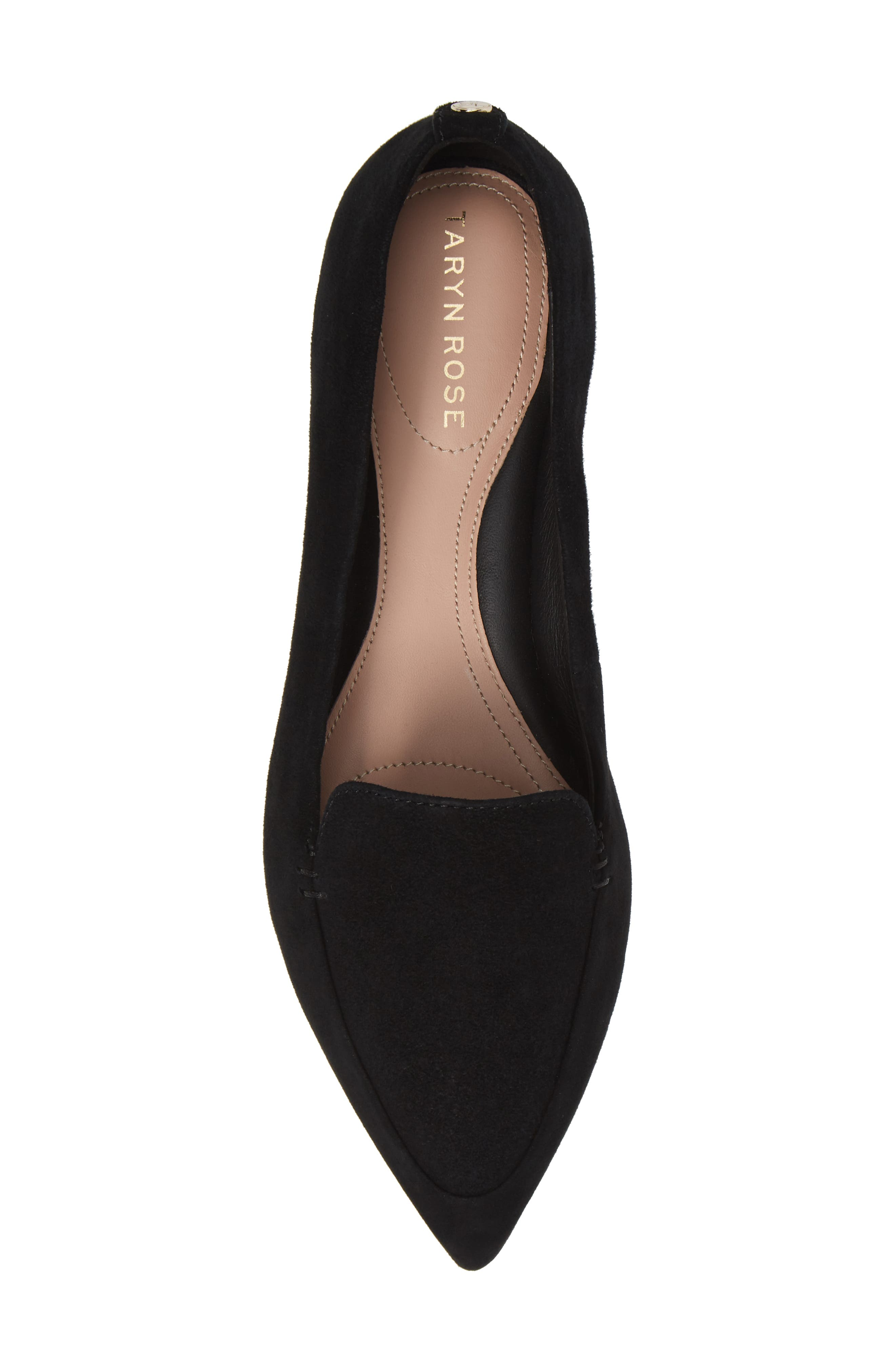 TARYN ROSE, Faye Pointy Toe Loafer, Alternate thumbnail 5, color, BLACK/ BLACK SUEDE