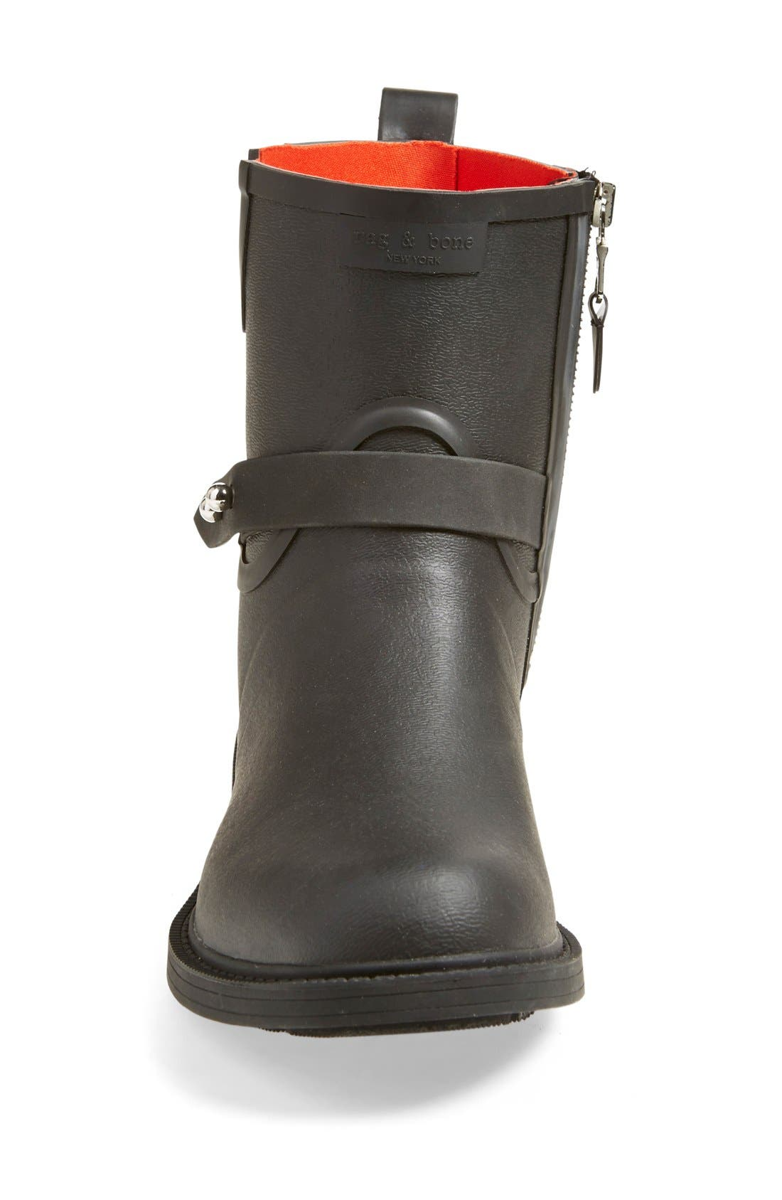 RAG & BONE, Moto Rain Boot, Alternate thumbnail 3, color, BLACK RUBBER
