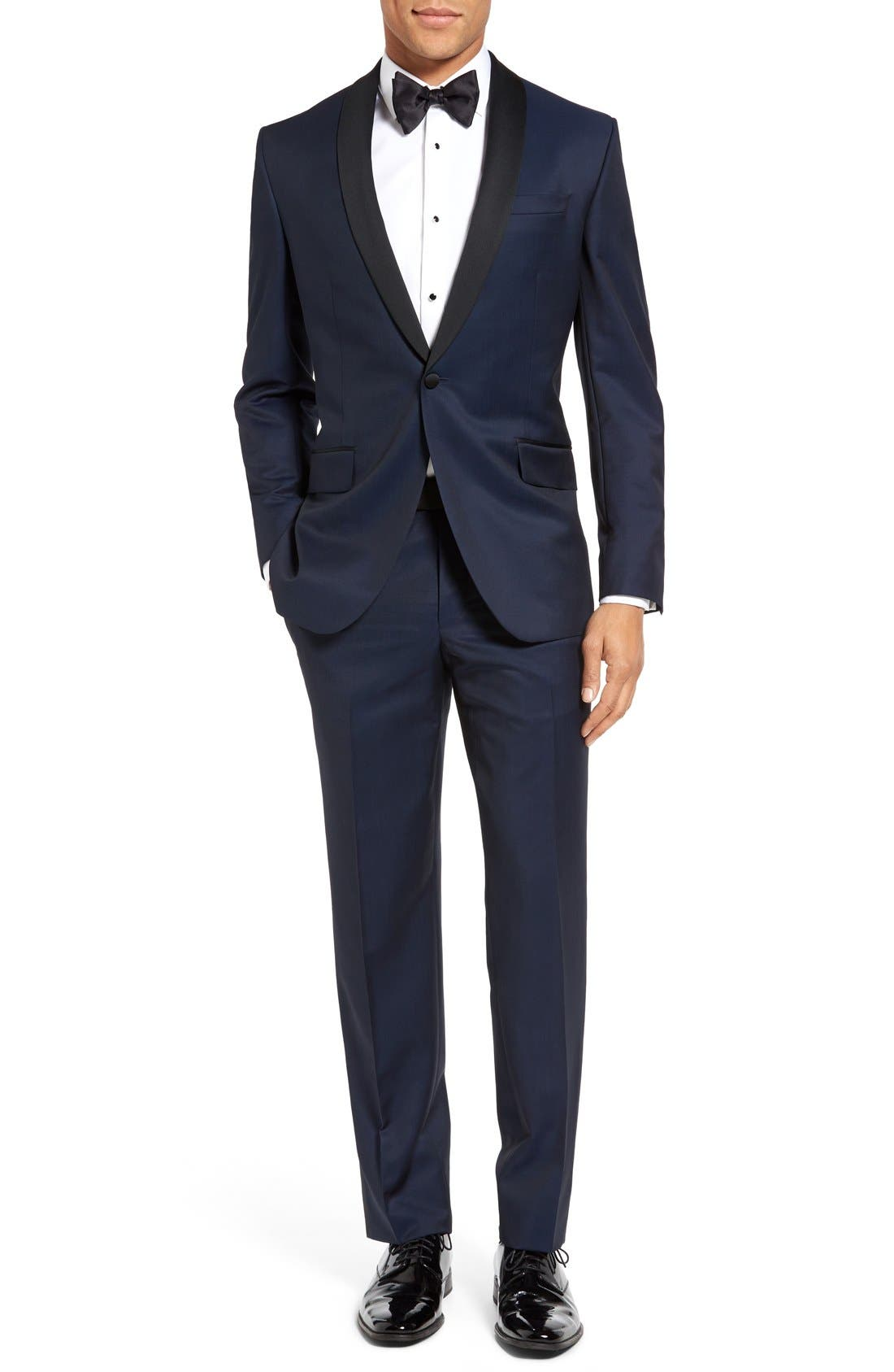 TED BAKER LONDON, Josh Trim Fit Navy Shawl Lapel Tuxedo, Main thumbnail 1, color, NAVY BLUE