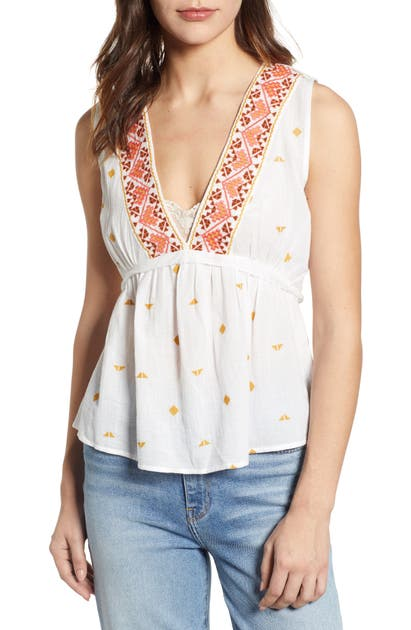 Lucky Brand Tops ROMANTIC EMBROIDERED DETAIL SLEEVELESS COTTON TOP