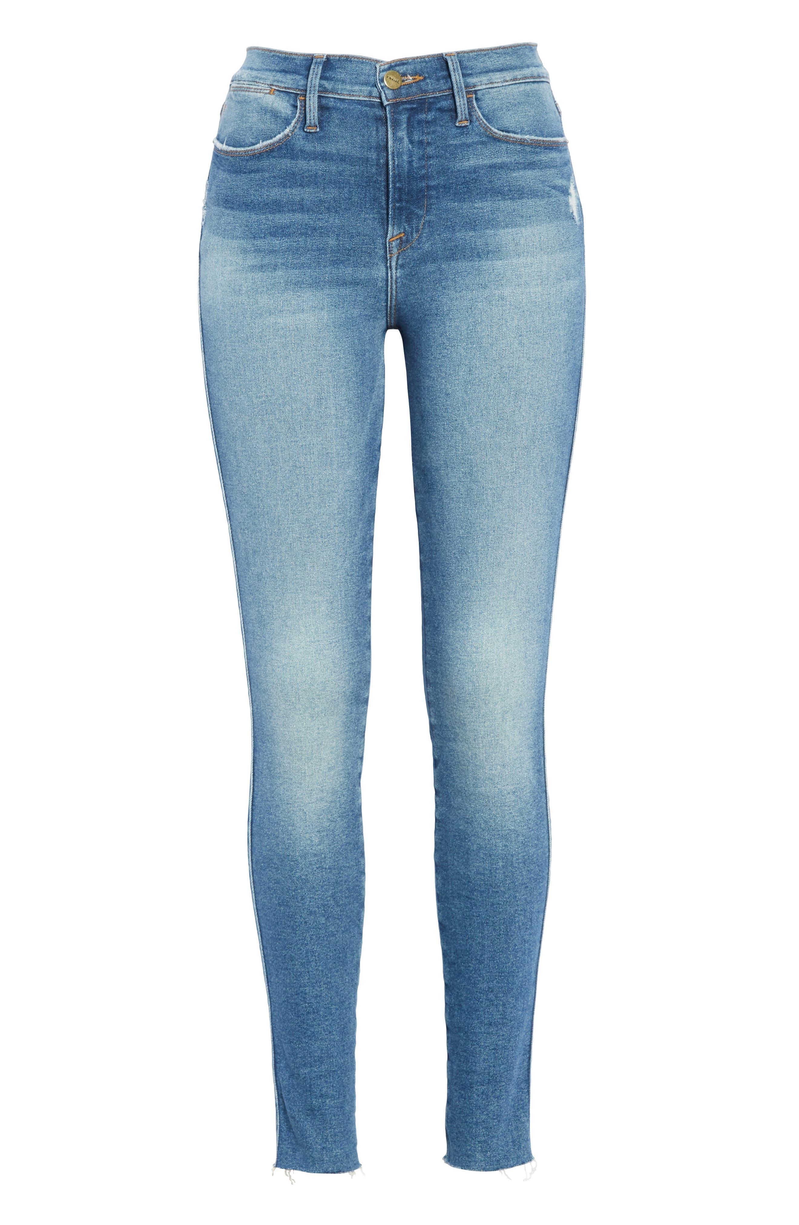 FRAME, Le Skinny de Jeanne High Waist Raw Hem Jeans, Alternate thumbnail 7, color, MCGRATH