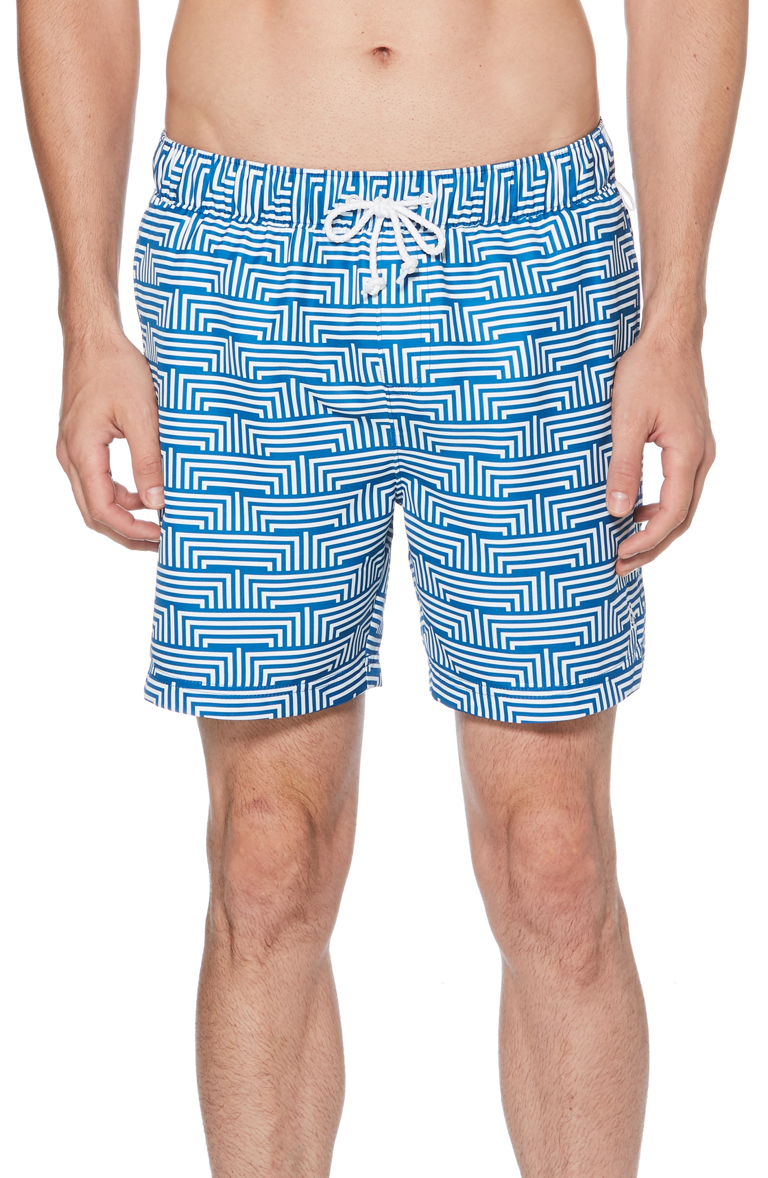 ORIGINAL PENGUIN, Geo Print Swim Trunks, Main thumbnail 1, color, CLASSIC BLUE