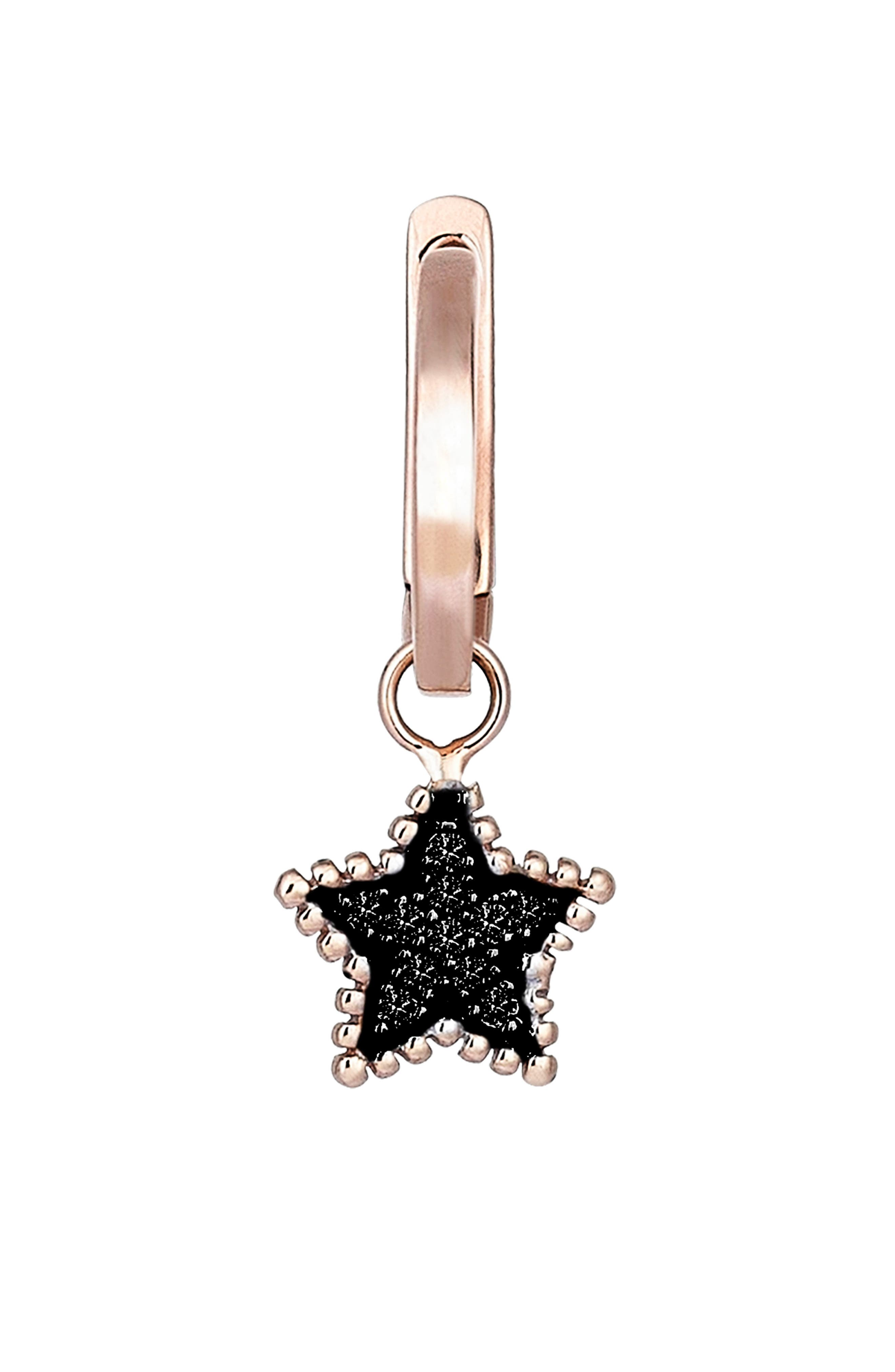 KISMET BY MILKA, Black Diamond Star Hoop Earring, Main thumbnail 1, color, ROSE GOLD