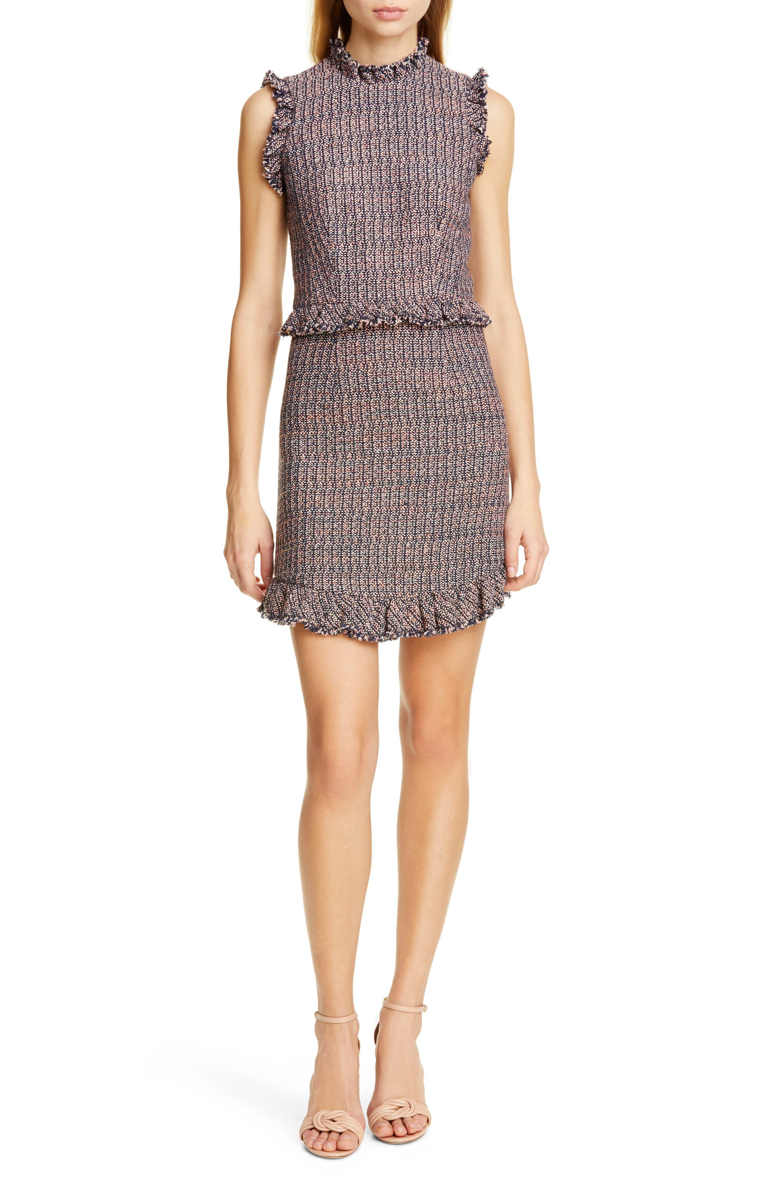 REBECCA TAYLOR, Frayed Ruffle Tweed Dress, Main thumbnail 1, color, PINK/ NAVY COMBO