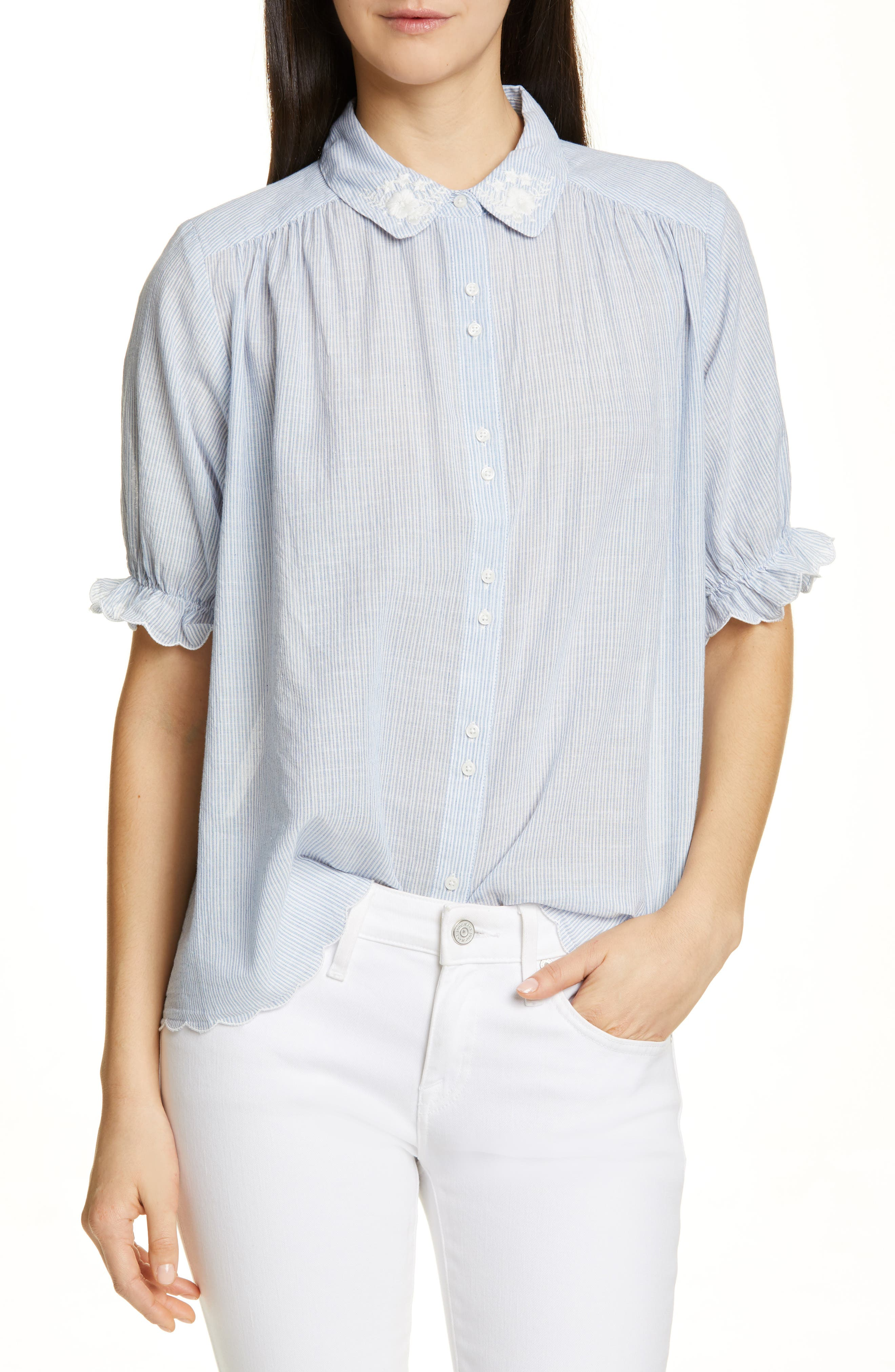 THE GREAT., The Kerchief Embroidered Cotton Top, Main thumbnail 1, color, CAROLINA STRIPE