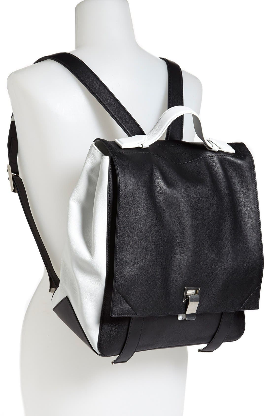 PROENZA SCHOULER, Calfskin Leather Backpack, Alternate thumbnail 2, color, 010