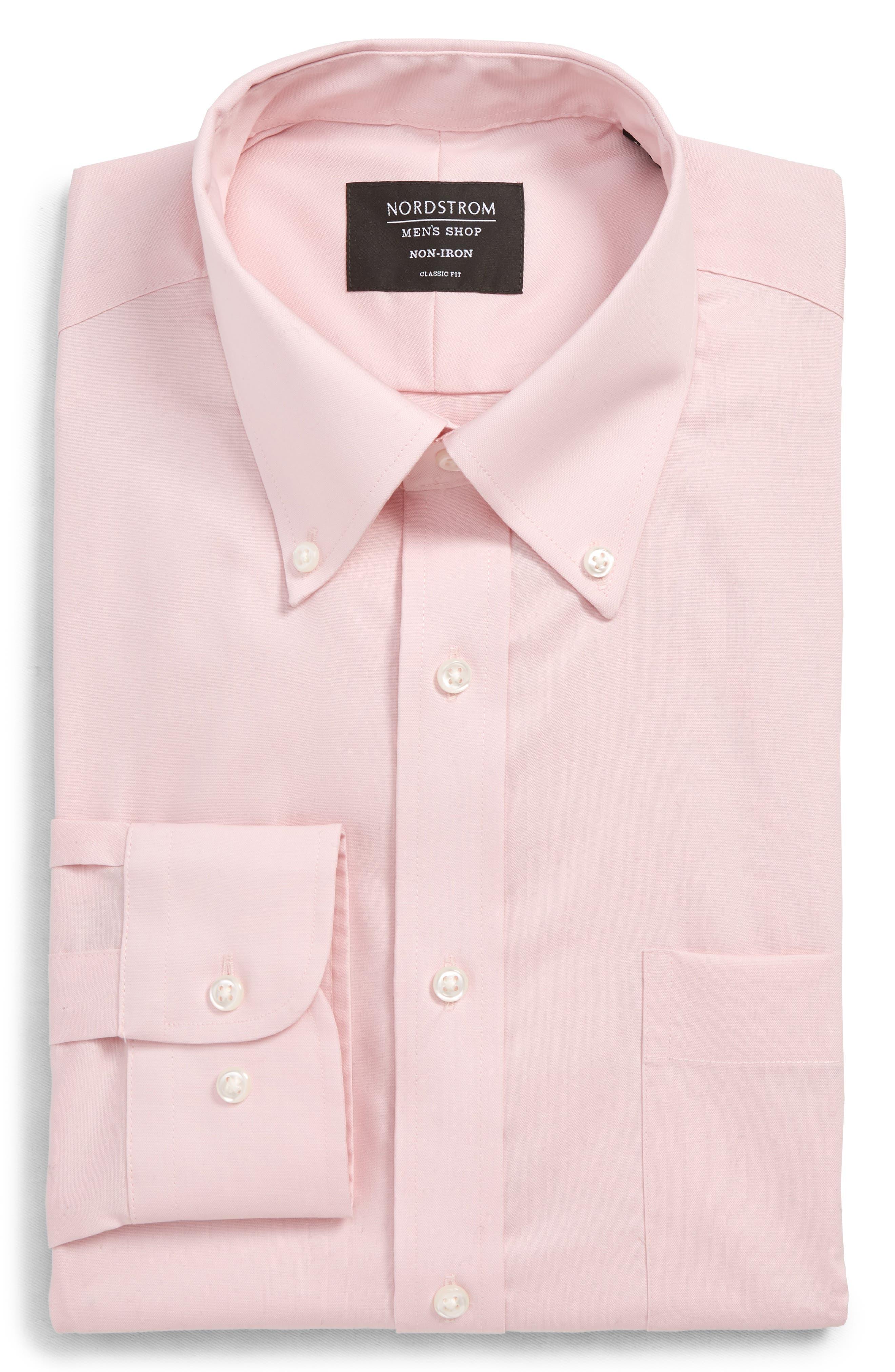 NORDSTROM MEN'S SHOP, Classic Fit Non-Iron Dress Shirt, Main thumbnail 1, color, PINK BREATH
