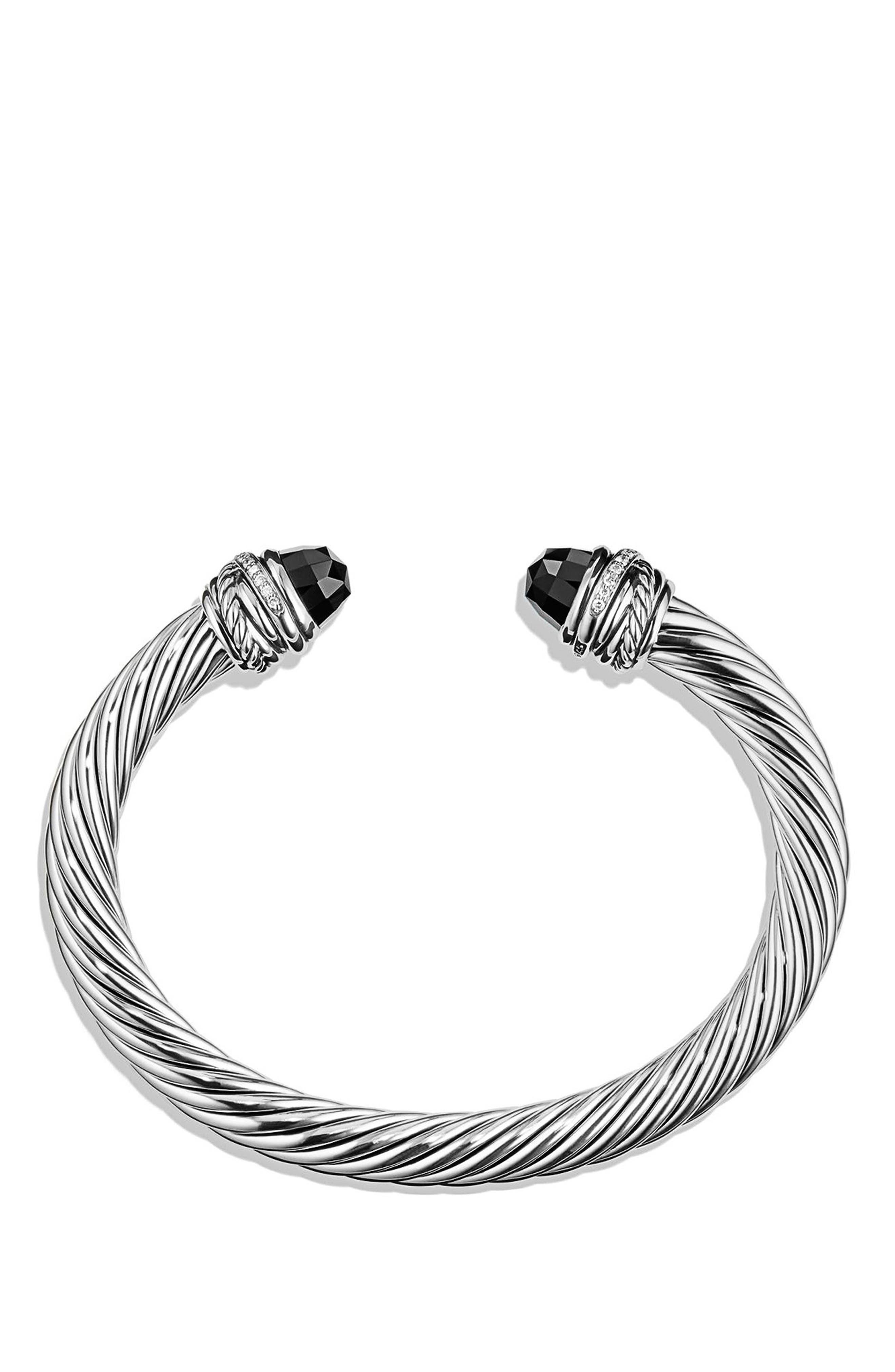 DAVID YURMAN, Crossover Bracelet with Diamonds, 7mm, Alternate thumbnail 2, color, BLACK ONYX