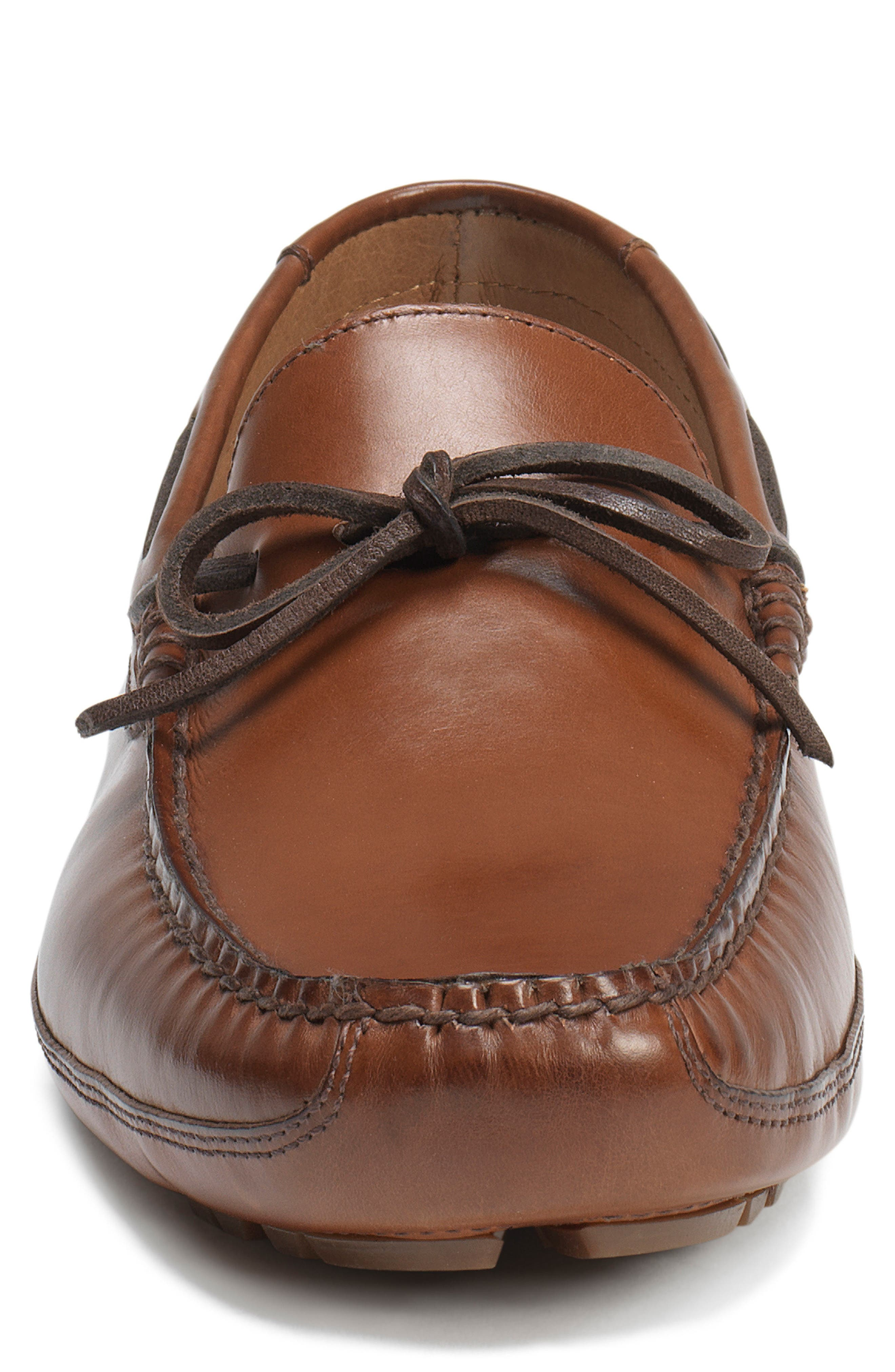 TRASK, Dillion Driving Loafer, Alternate thumbnail 3, color, BROWN LEATHER