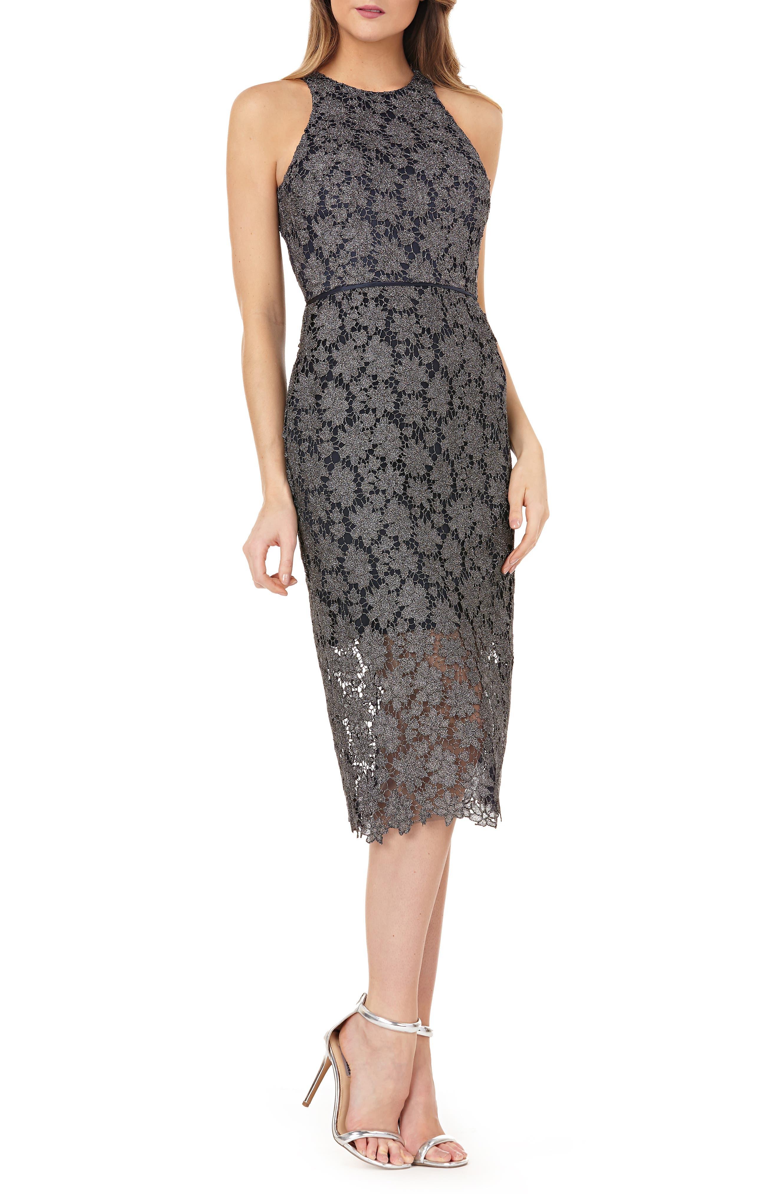 Js Collections Metallic Lace Midi Sheath Dress, Grey