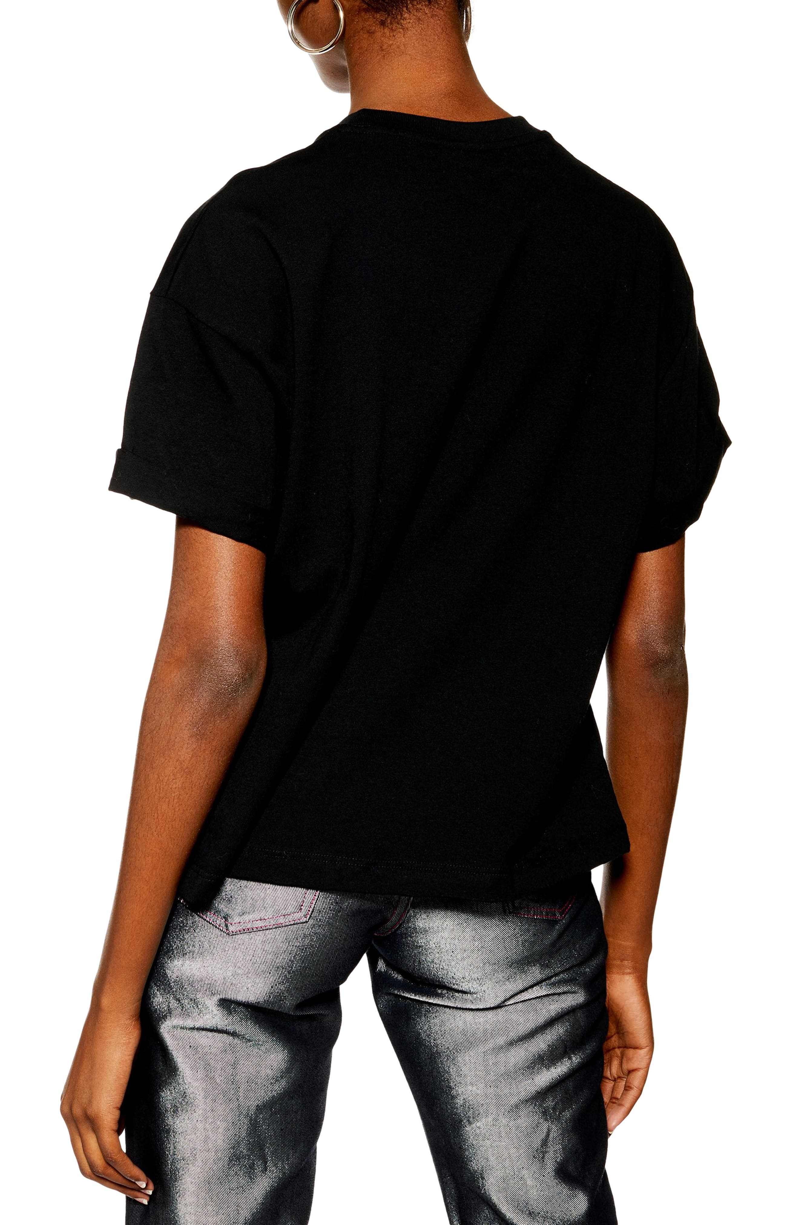 TOPSHOP, Boxy Roll Tee, Alternate thumbnail 2, color, BLACK