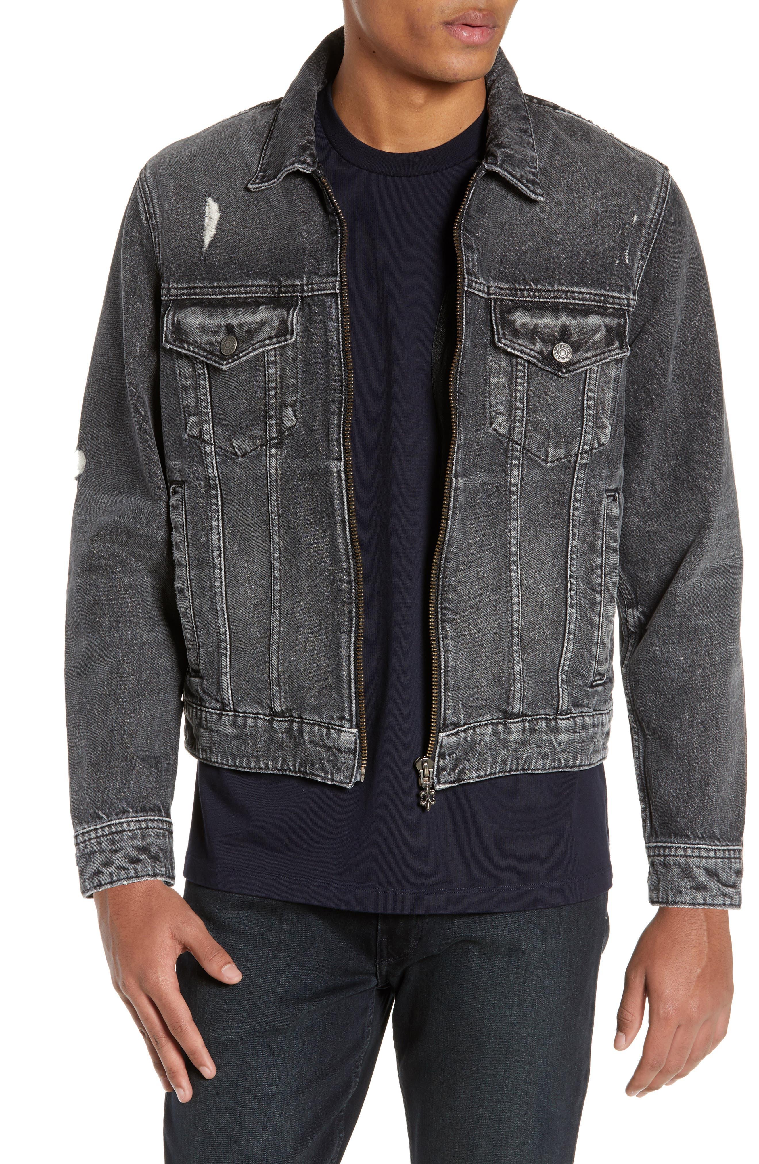 THE KOOPLES Slim Fit Denim Jacket, Main, color, BLACK DENIM EFFECT