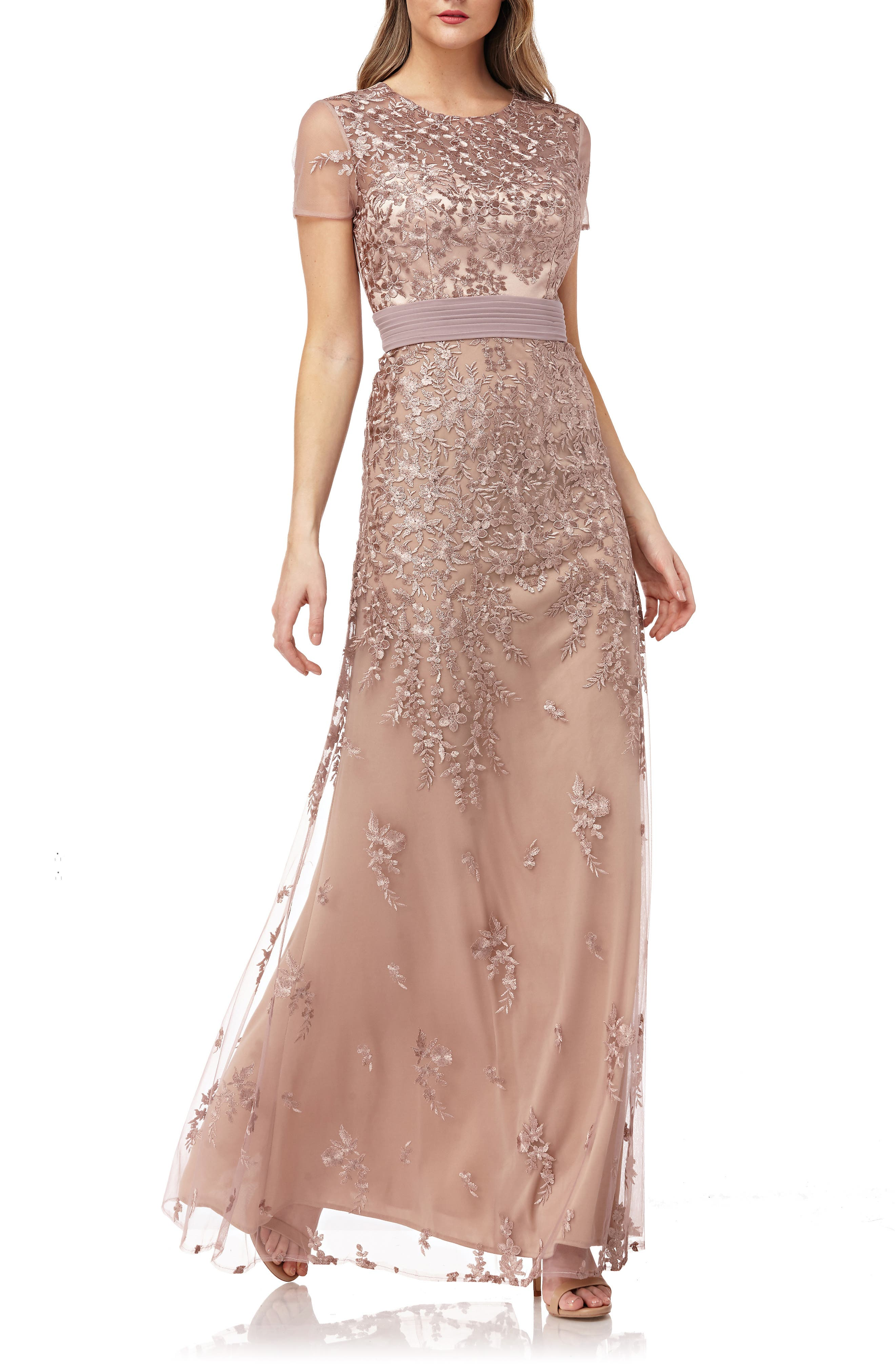 JS COLLECTIONS, Floral Embroidered Evening Dress, Main thumbnail 1, color, MAPLE SUGAR