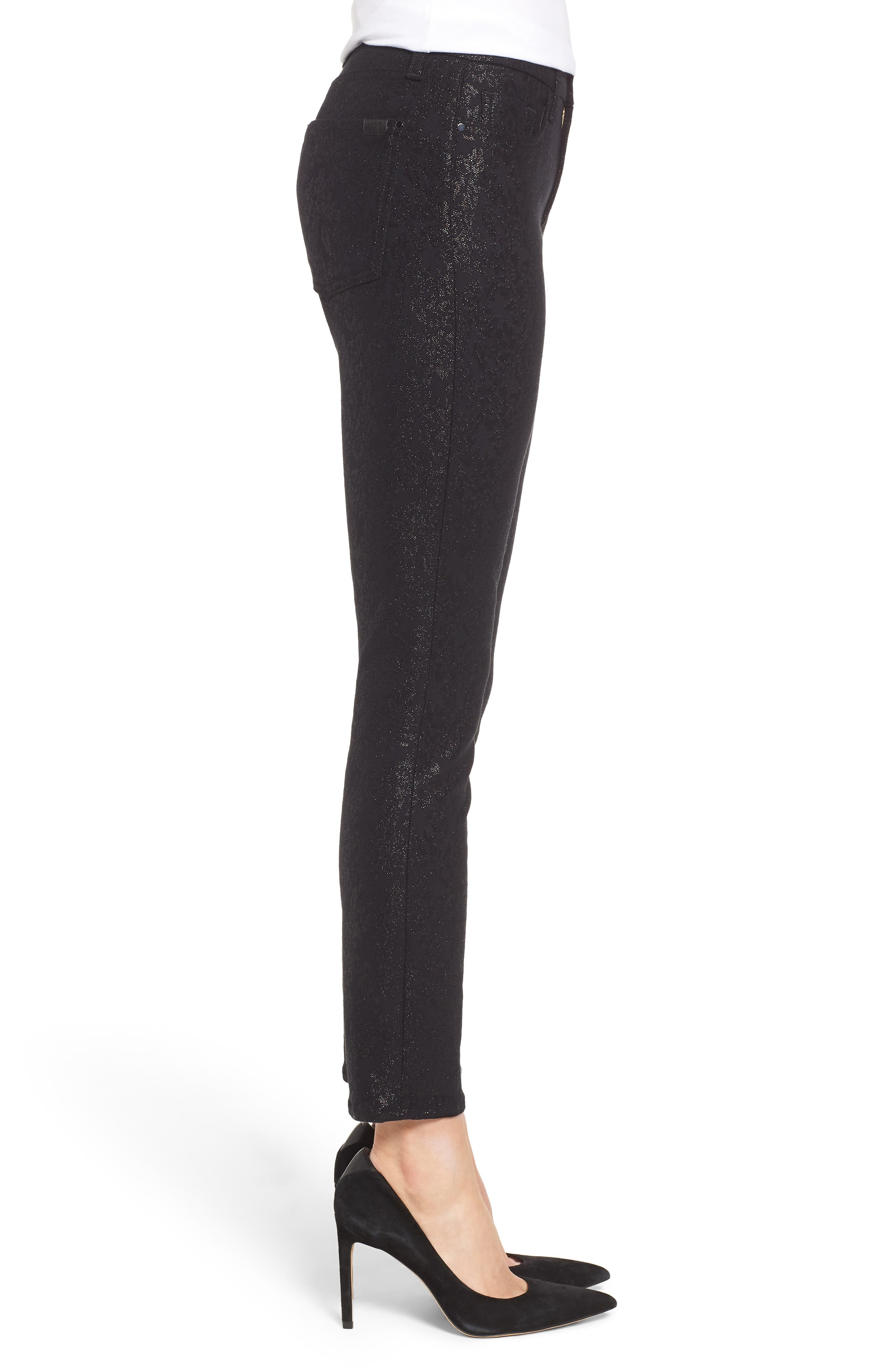 JEN7 BY 7 FOR ALL MANKIND, Floral Metallic Ankle Skinny Jeans, Alternate thumbnail 4, color, BLACK