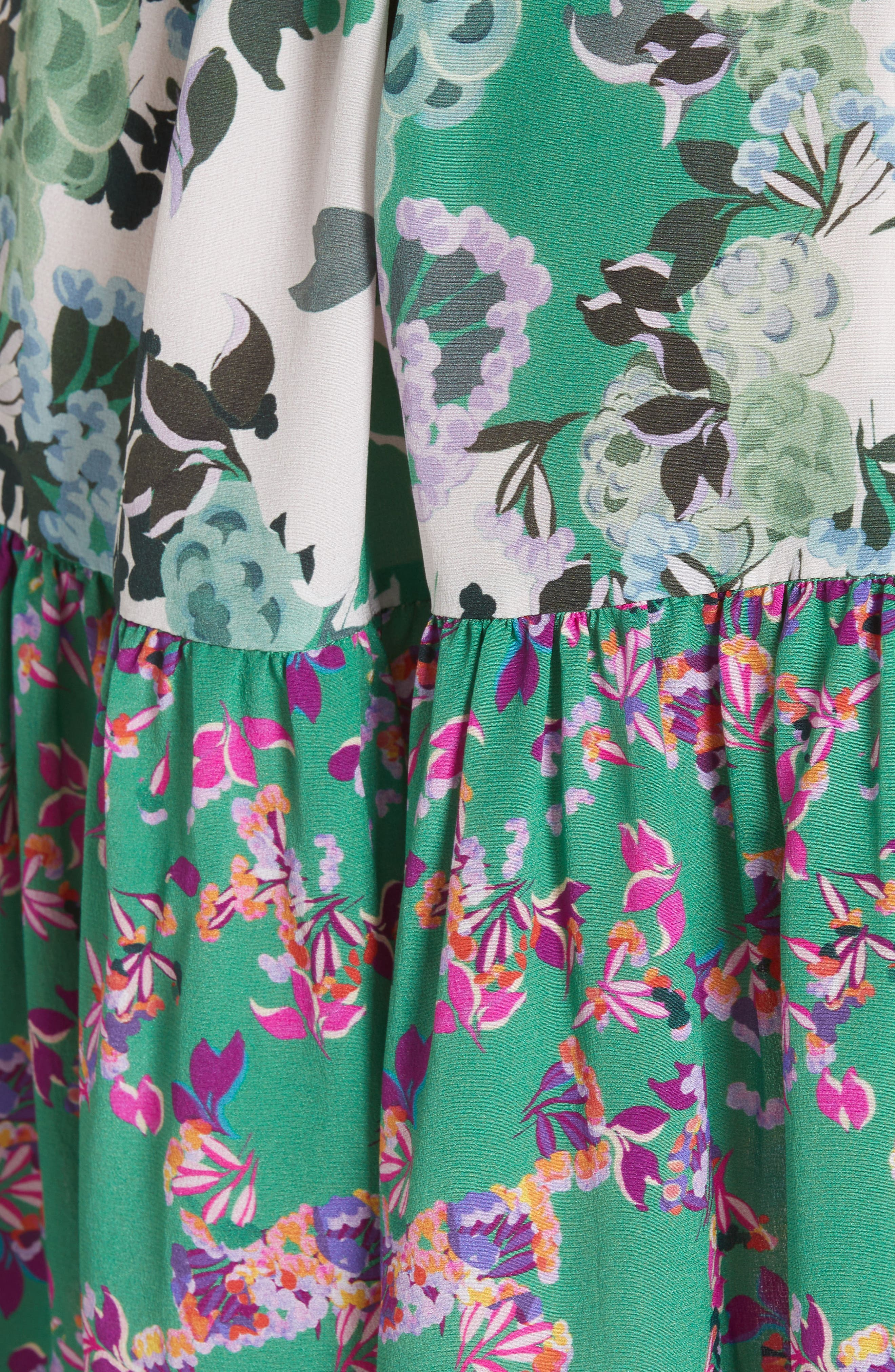 SALONI, Tilly Print Silk Dress, Alternate thumbnail 5, color, ROSE MEADOW PLMT