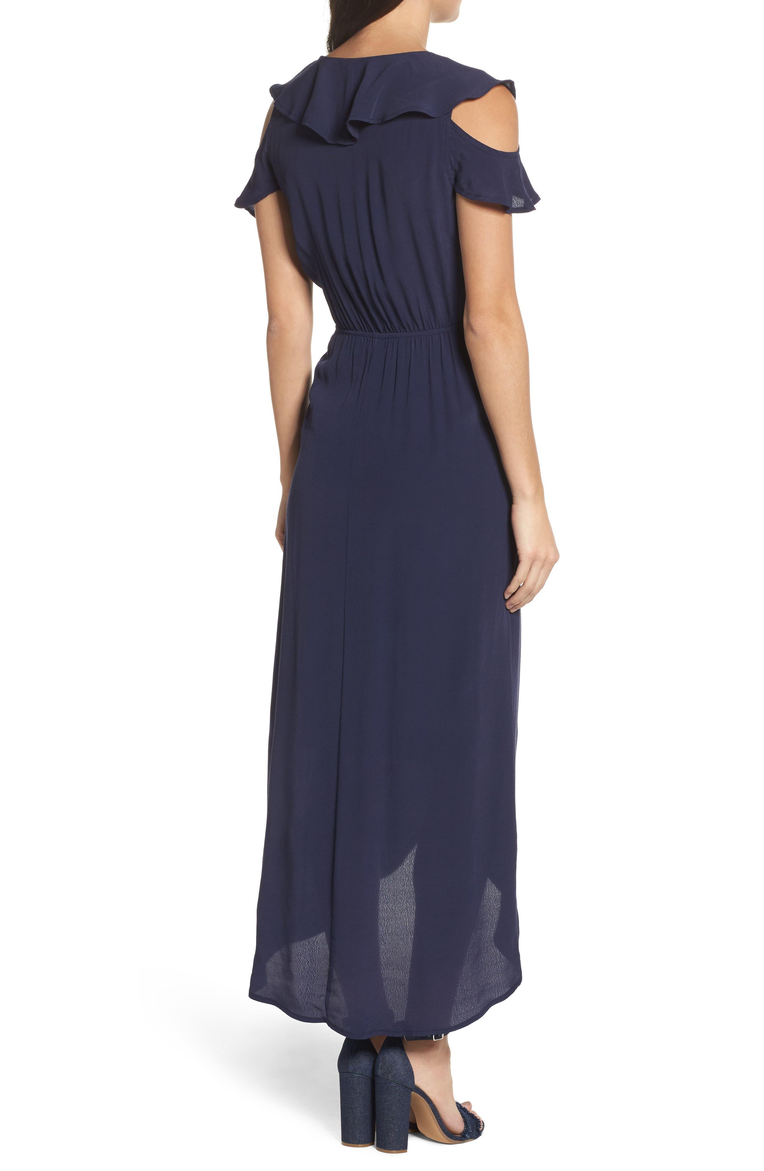 FRAICHE BY J, Cold Shoulder Maxi Dress, Alternate thumbnail 2, color, NAVY