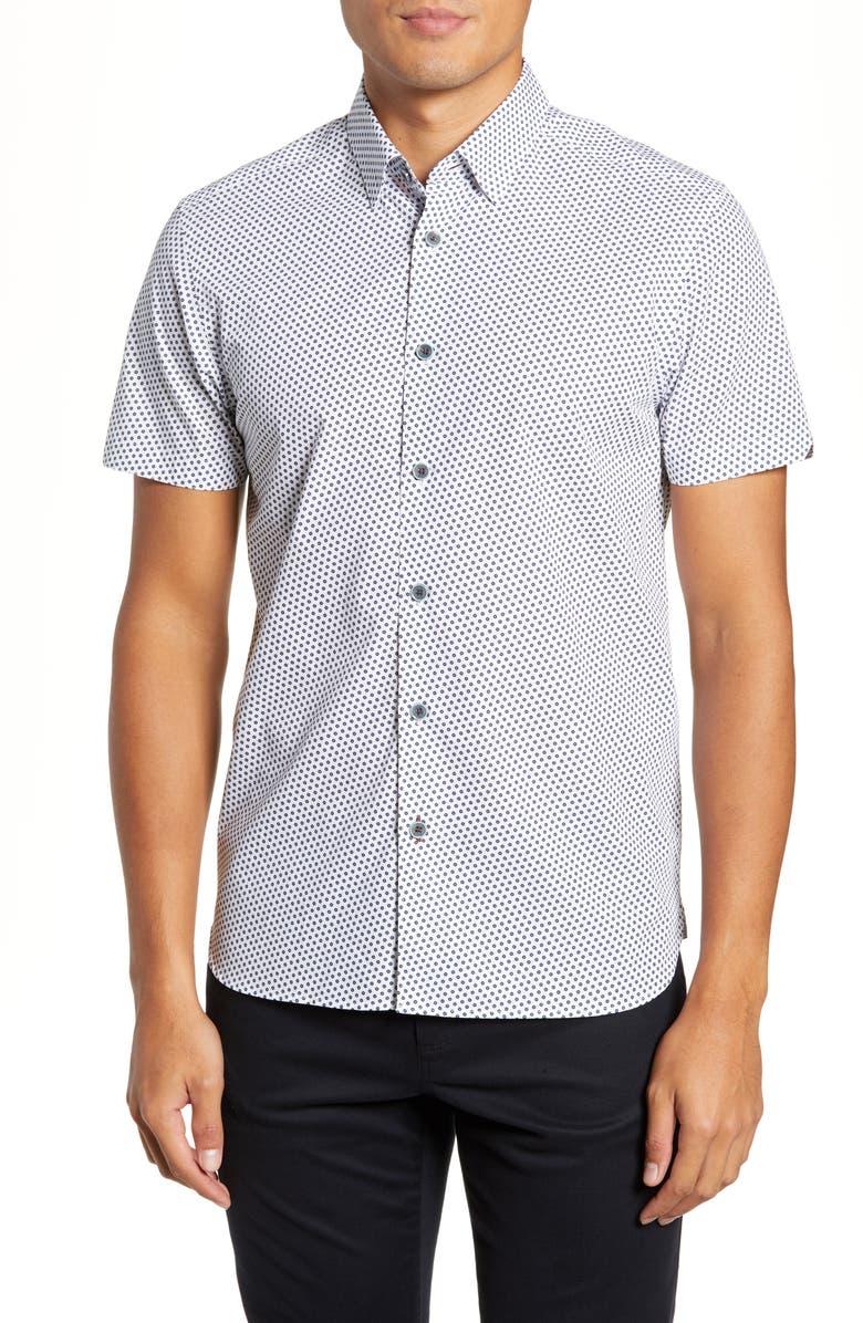8215ea73 TED BAKER LONDON Portfol Slim Fit Flower Sport Shirt, Main, color, WHITE