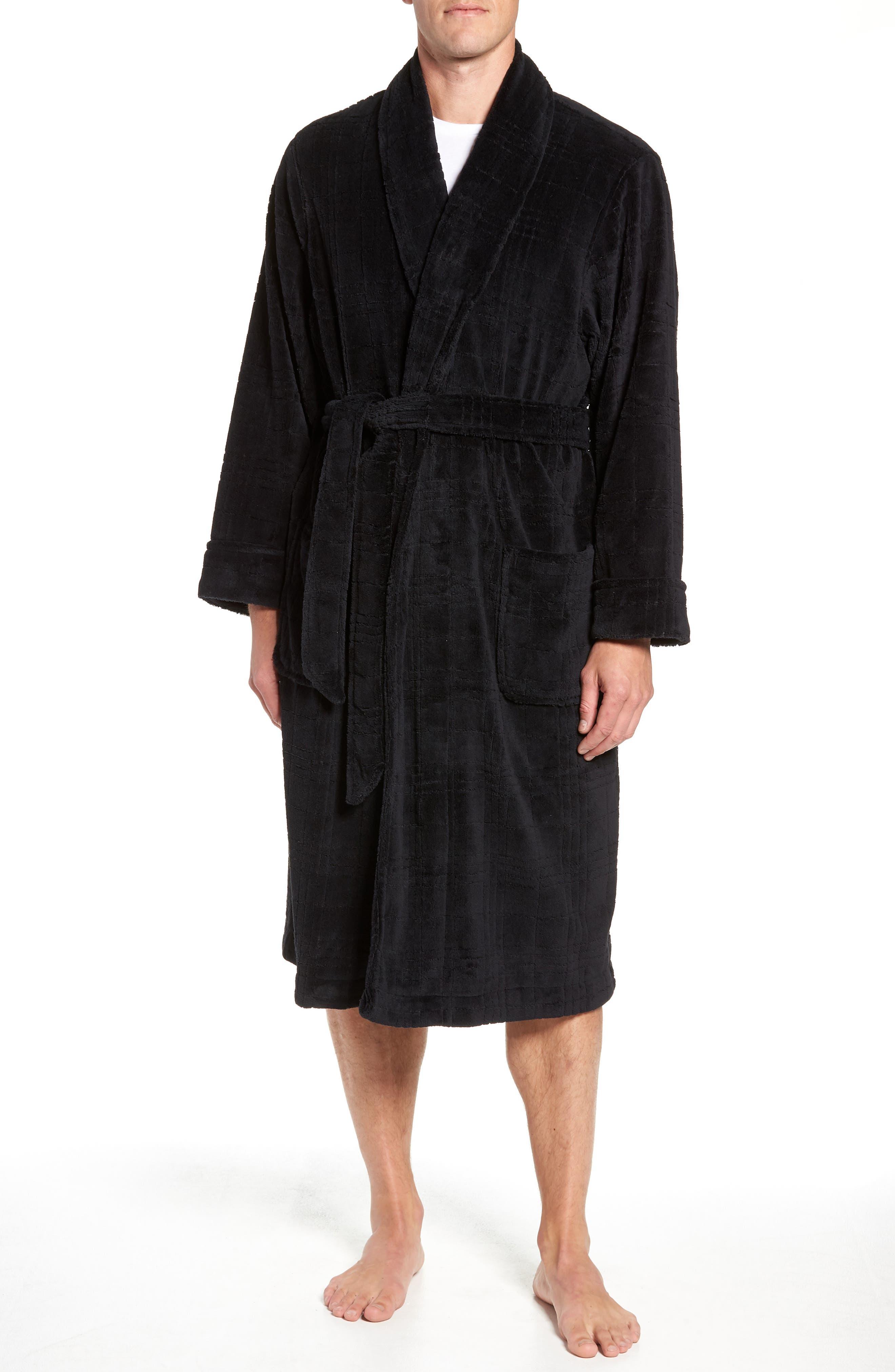 NORDSTROM MEN'S SHOP, Shadow Plaid Fleece Robe, Main thumbnail 1, color, BLACK