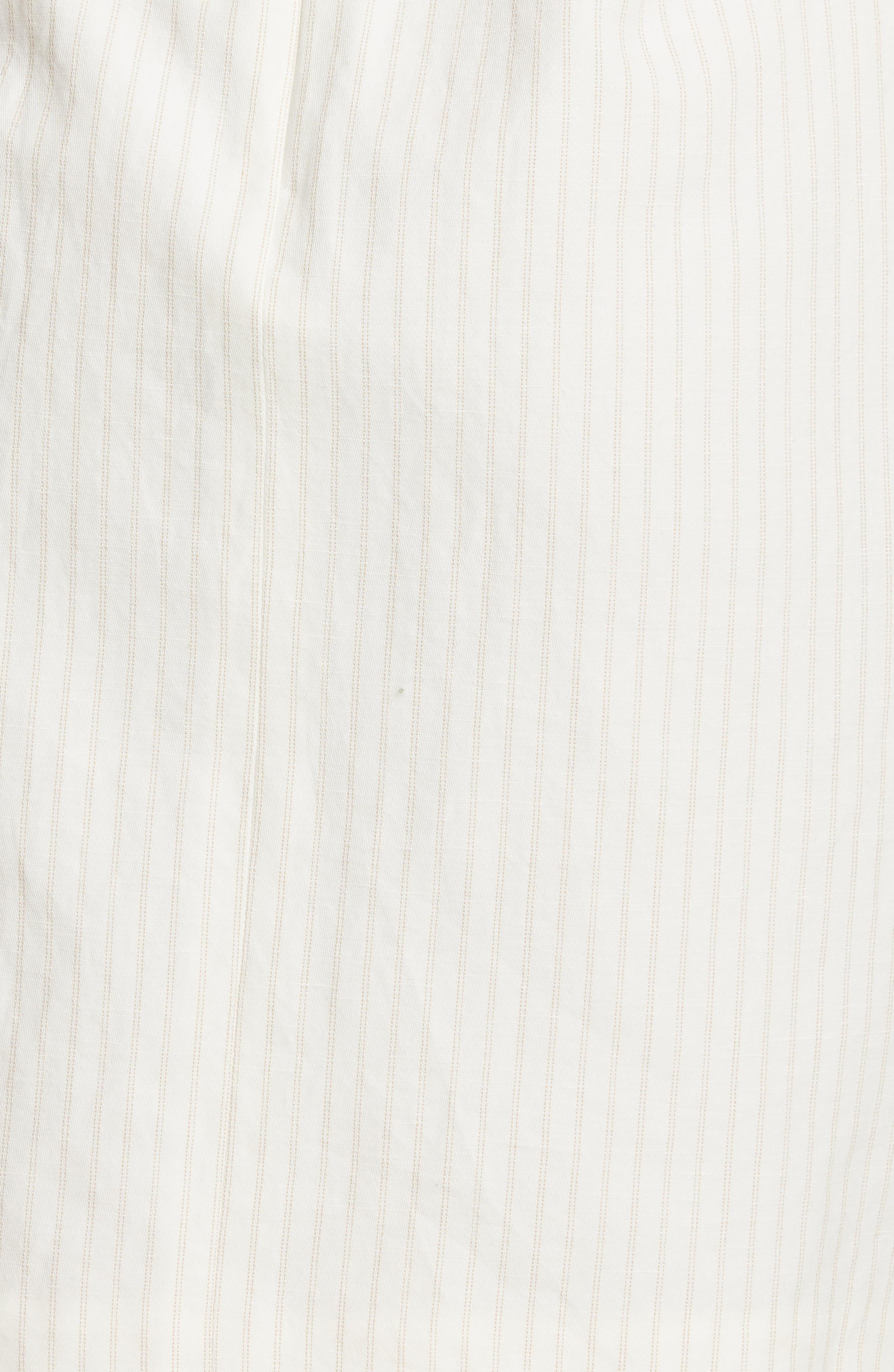 REBECCA TAYLOR, Pinstripe Cotton & Linen Dress, Alternate thumbnail 5, color, SNOW COMBO