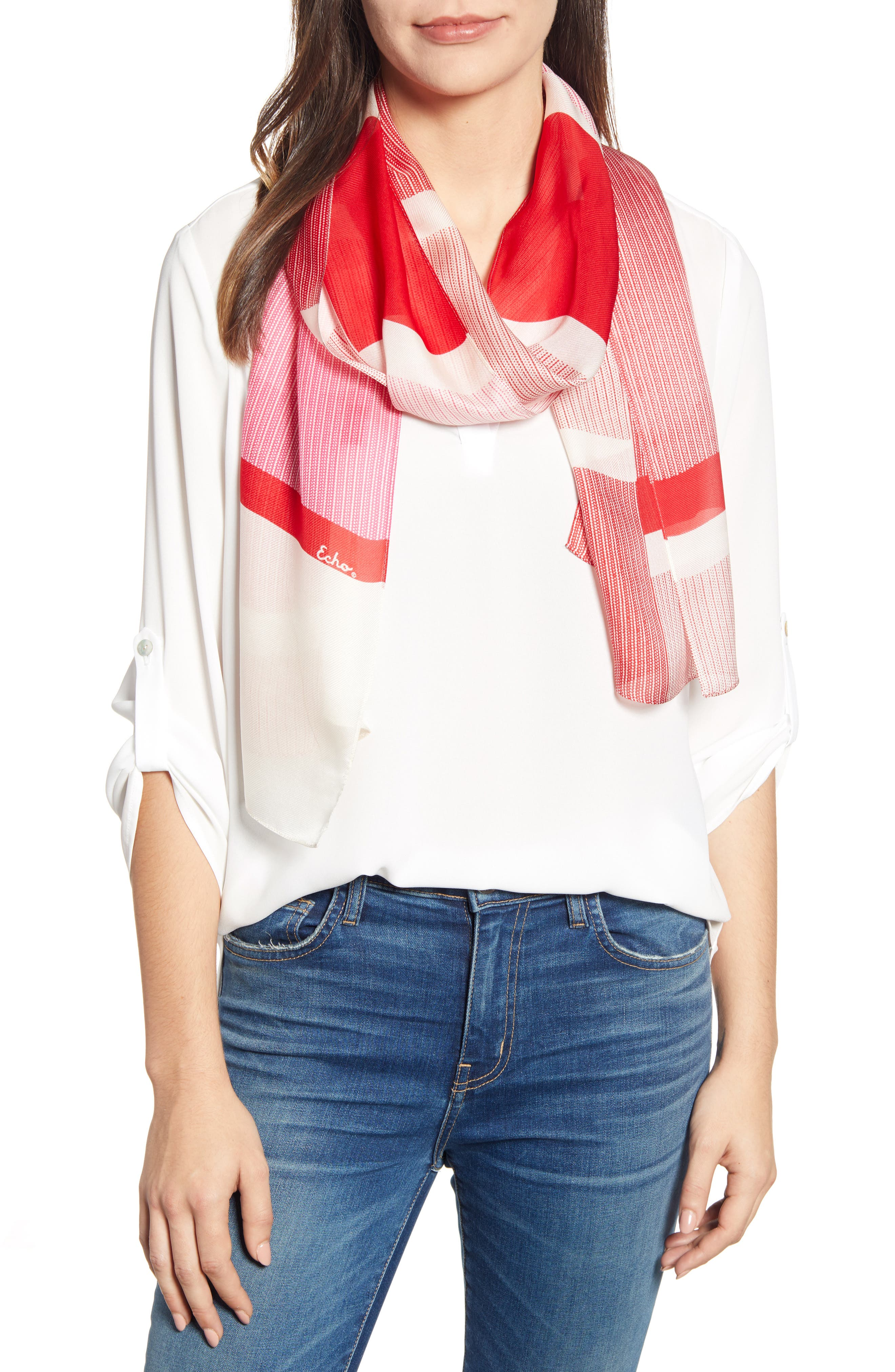 ECHO Dotty Stripe Silk Scarf, Main, color, RESORT RED