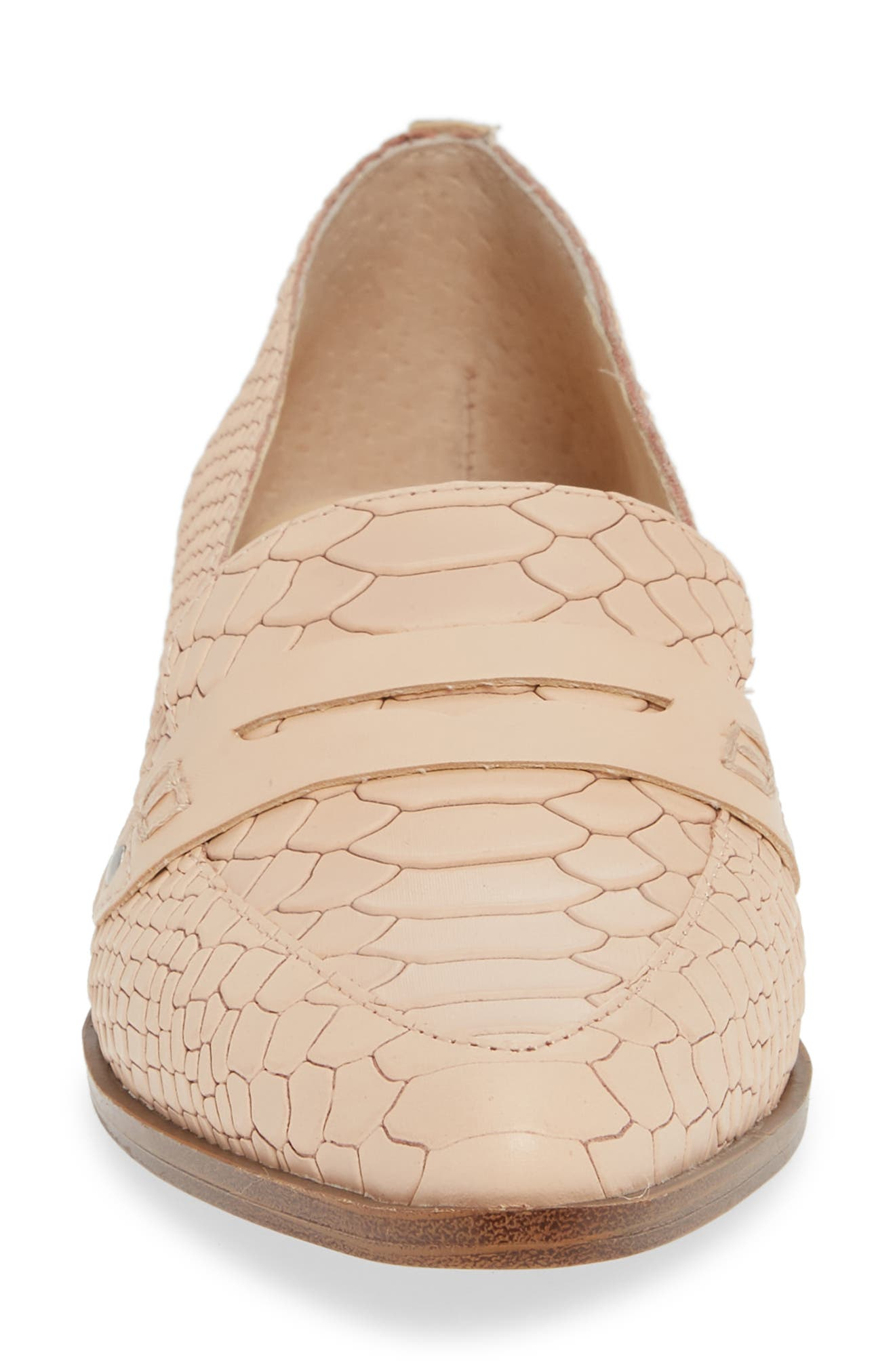 SOLE SOCIETY, Jessica Smoking Slipper, Alternate thumbnail 4, color, BISQUE LEATHER