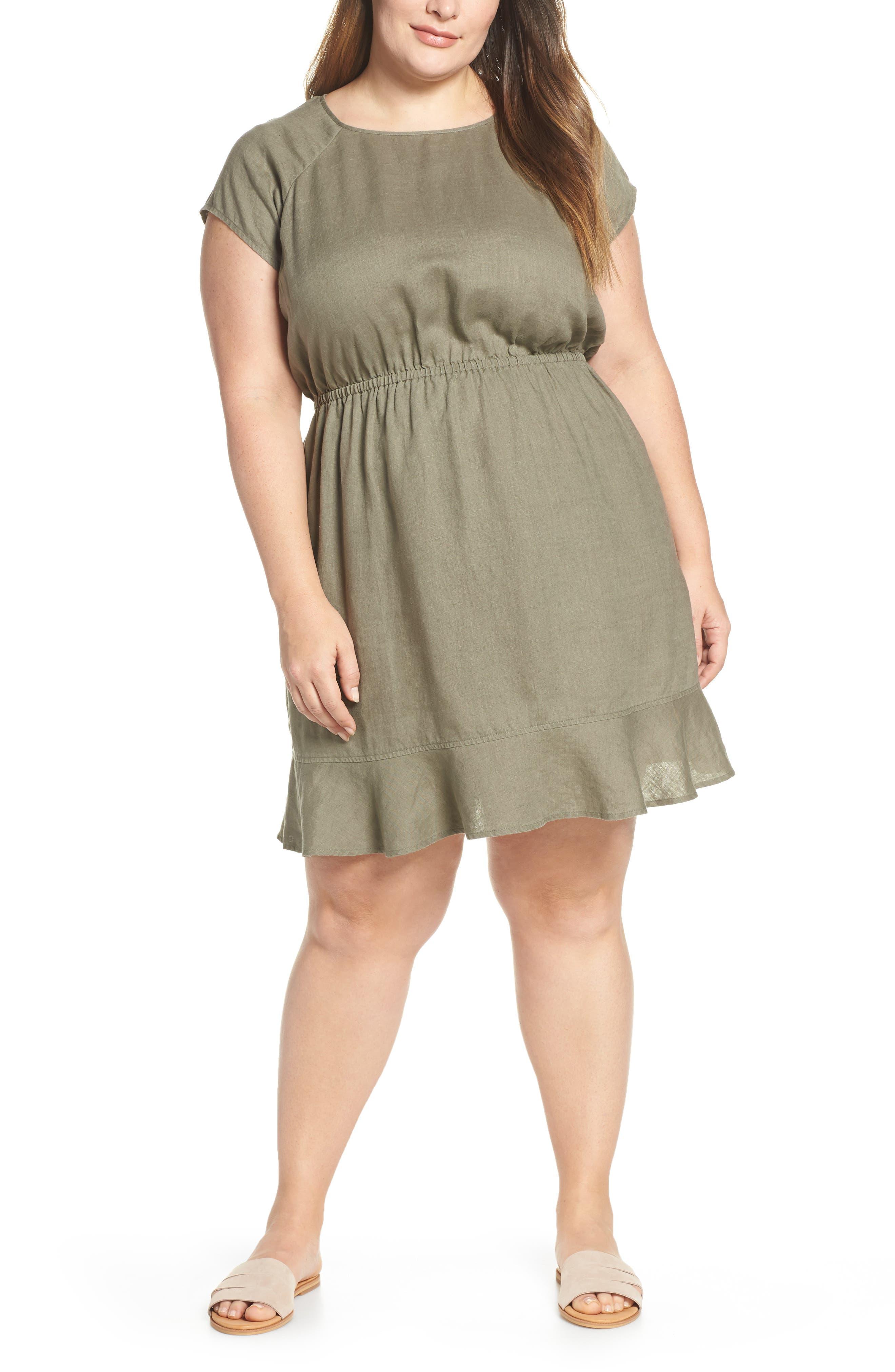 Plus Size Vince Camuto Extended Shoulder Linen Dress, Beige