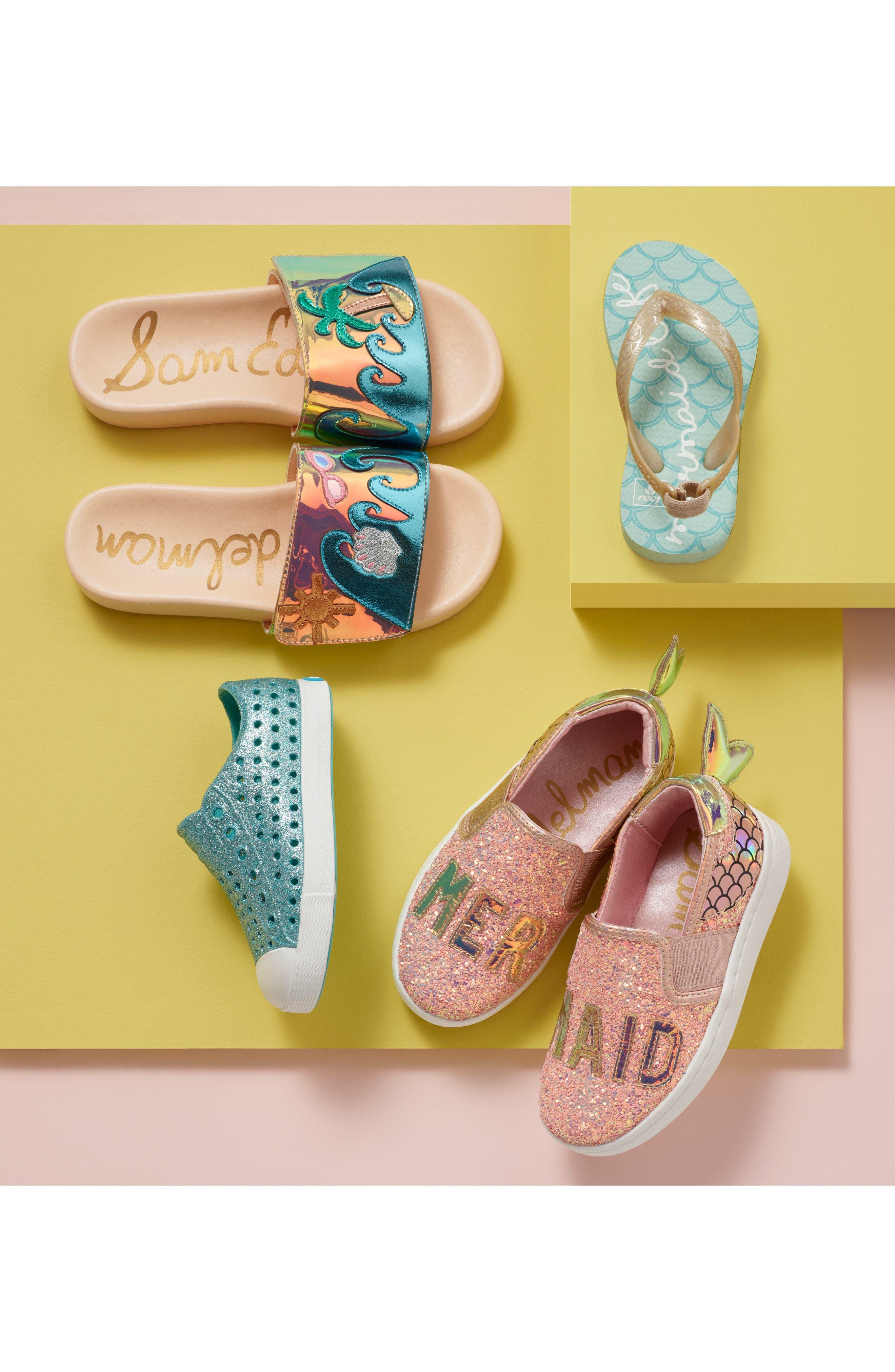 NATIVE SHOES, Jefferson Bling Glitter Slip-On Vegan Sneaker, Alternate thumbnail 10, color, SAKURA BLING/ SHELL WHITE
