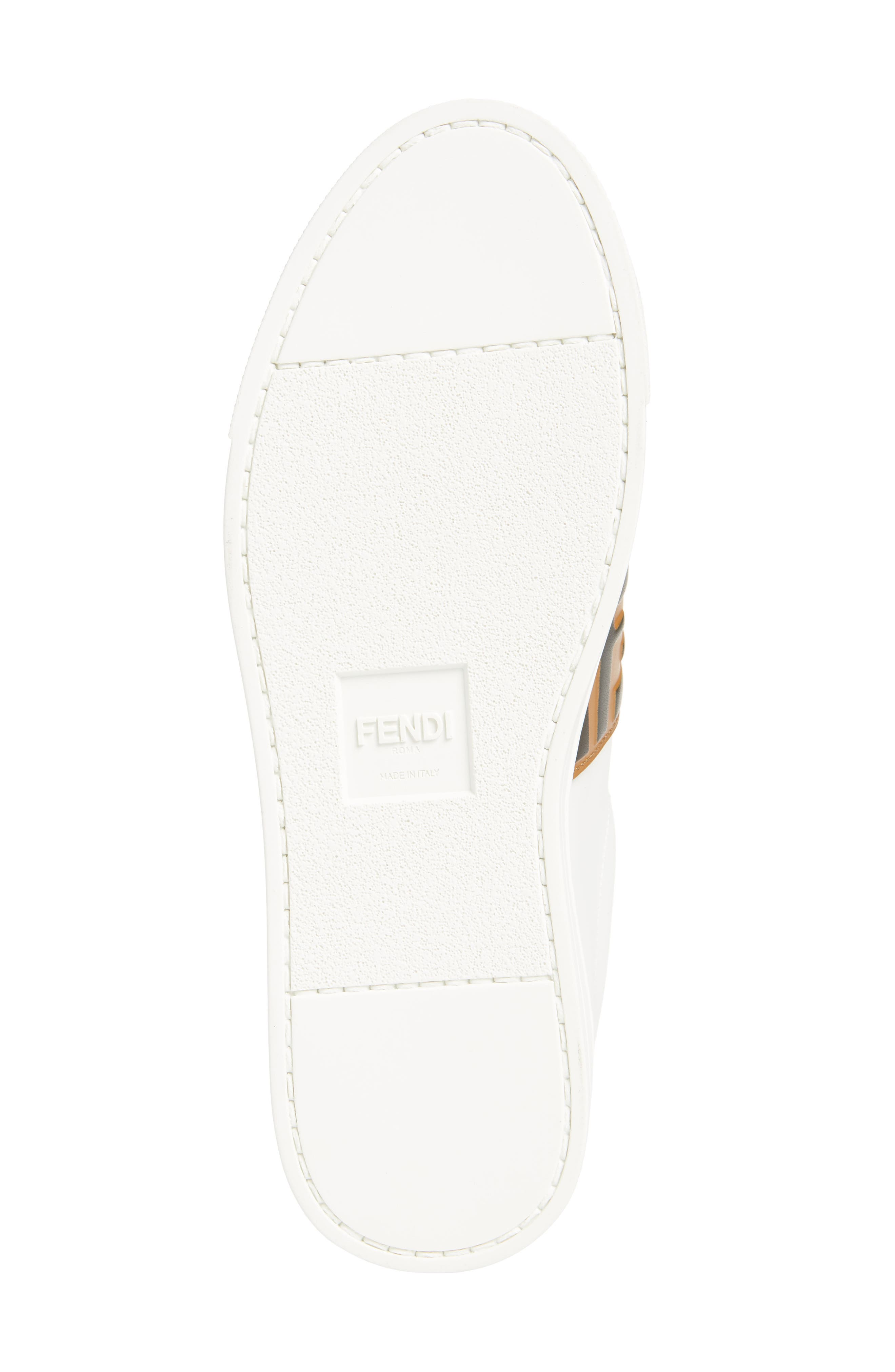 FENDI, Pearland Logo Slip-On Sneaker, Alternate thumbnail 6, color, WHITE/ BROWN