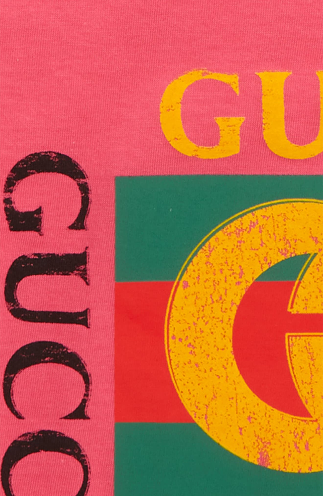 GUCCI, Logo Graphic T-Shirt, Alternate thumbnail 2, color, BABA/ GREEN/ RED