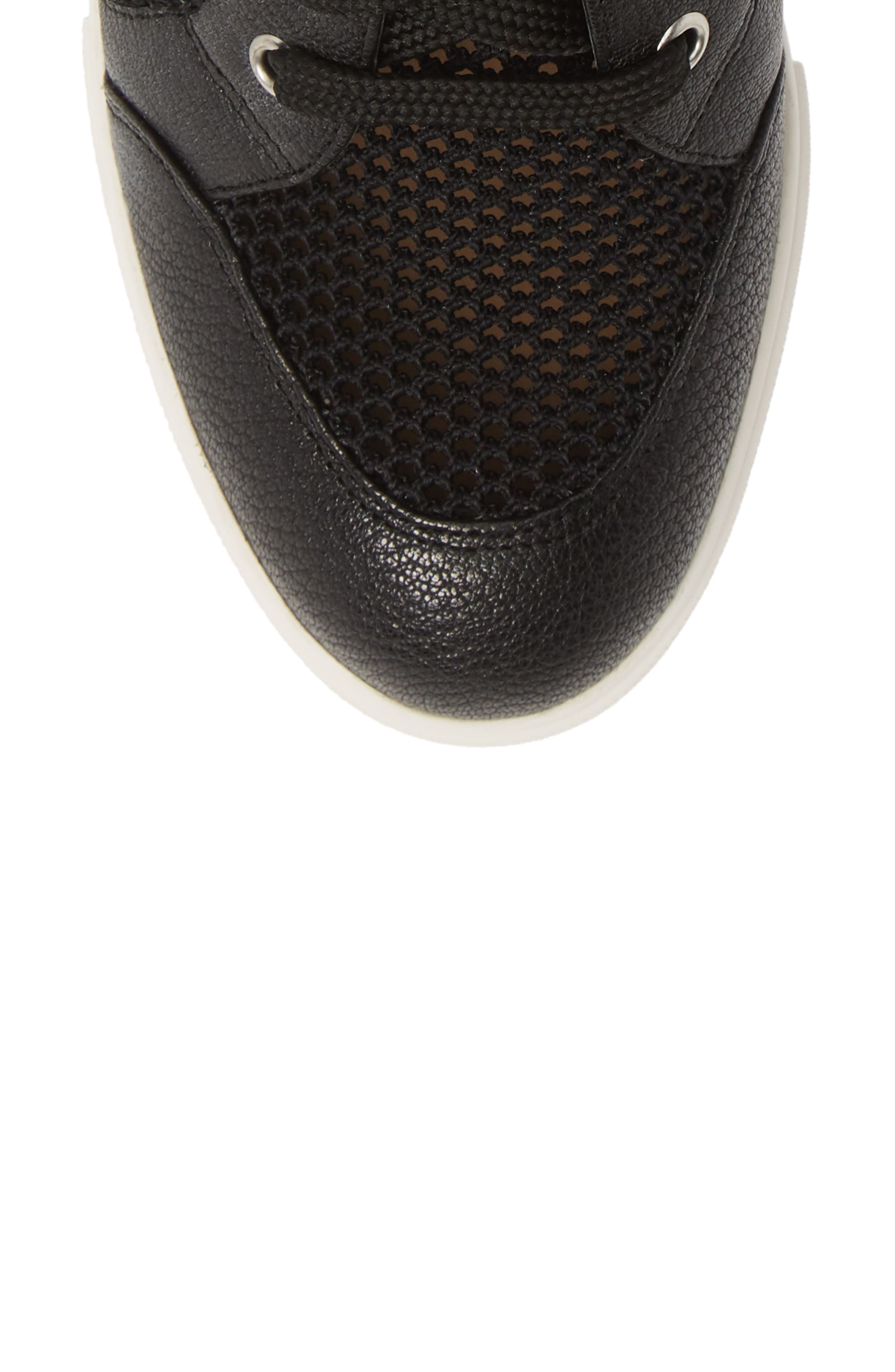 LINEA PAOLO, Finian Mesh Wedge Sneaker Bootie, Alternate thumbnail 5, color, BLACK LEATHER