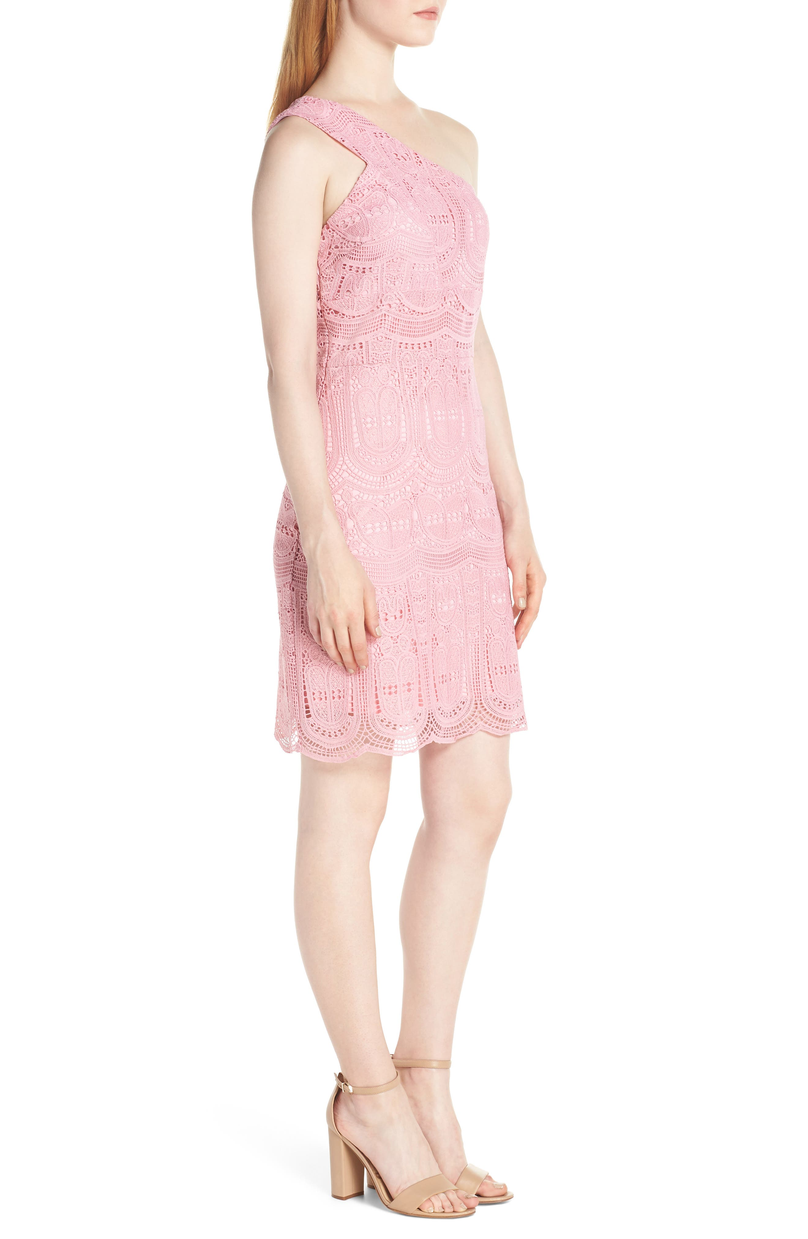 NSR, Grace One-Shoulder Lace Sheath Dress, Alternate thumbnail 4, color, PINK