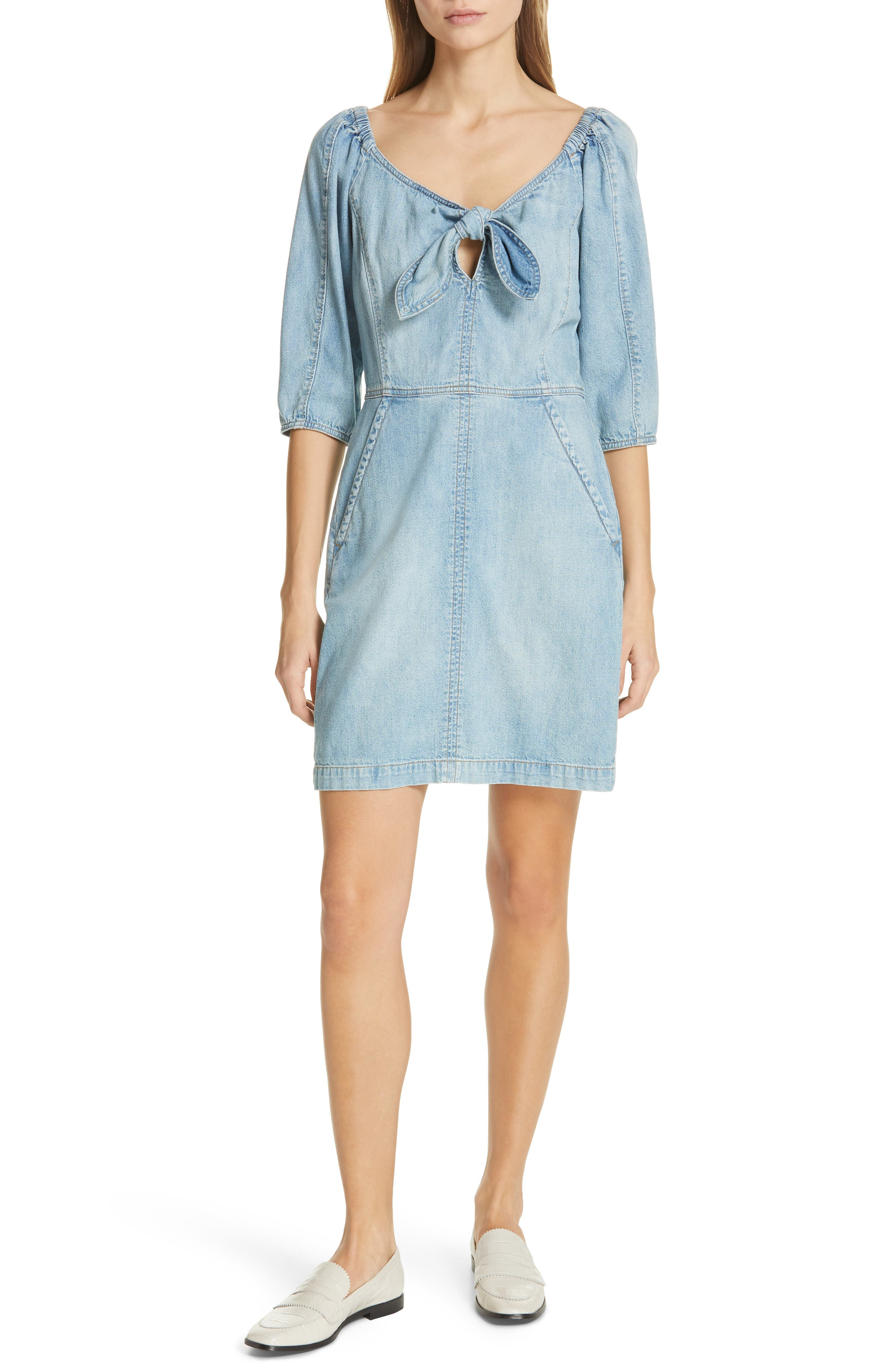 LA VIE REBECCA TAYLOR Tie Neck Denim Dress, Main, color, FORGET ME NOT WASH
