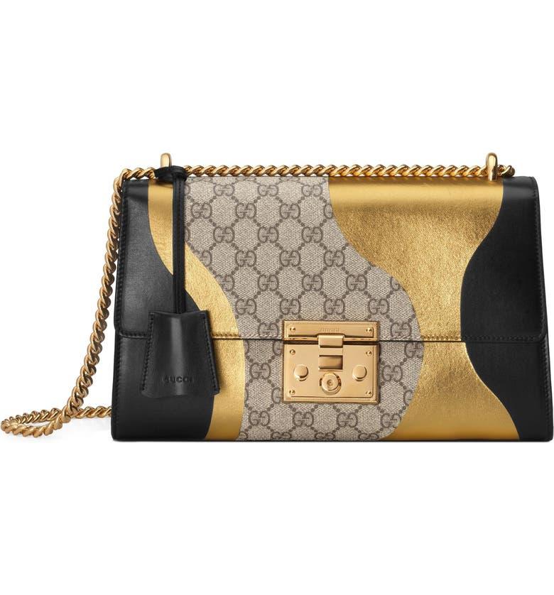 e7d361c0ae6 Gucci Medium Padlock GG Supreme Canvas   Leather Shoulder Bag ...