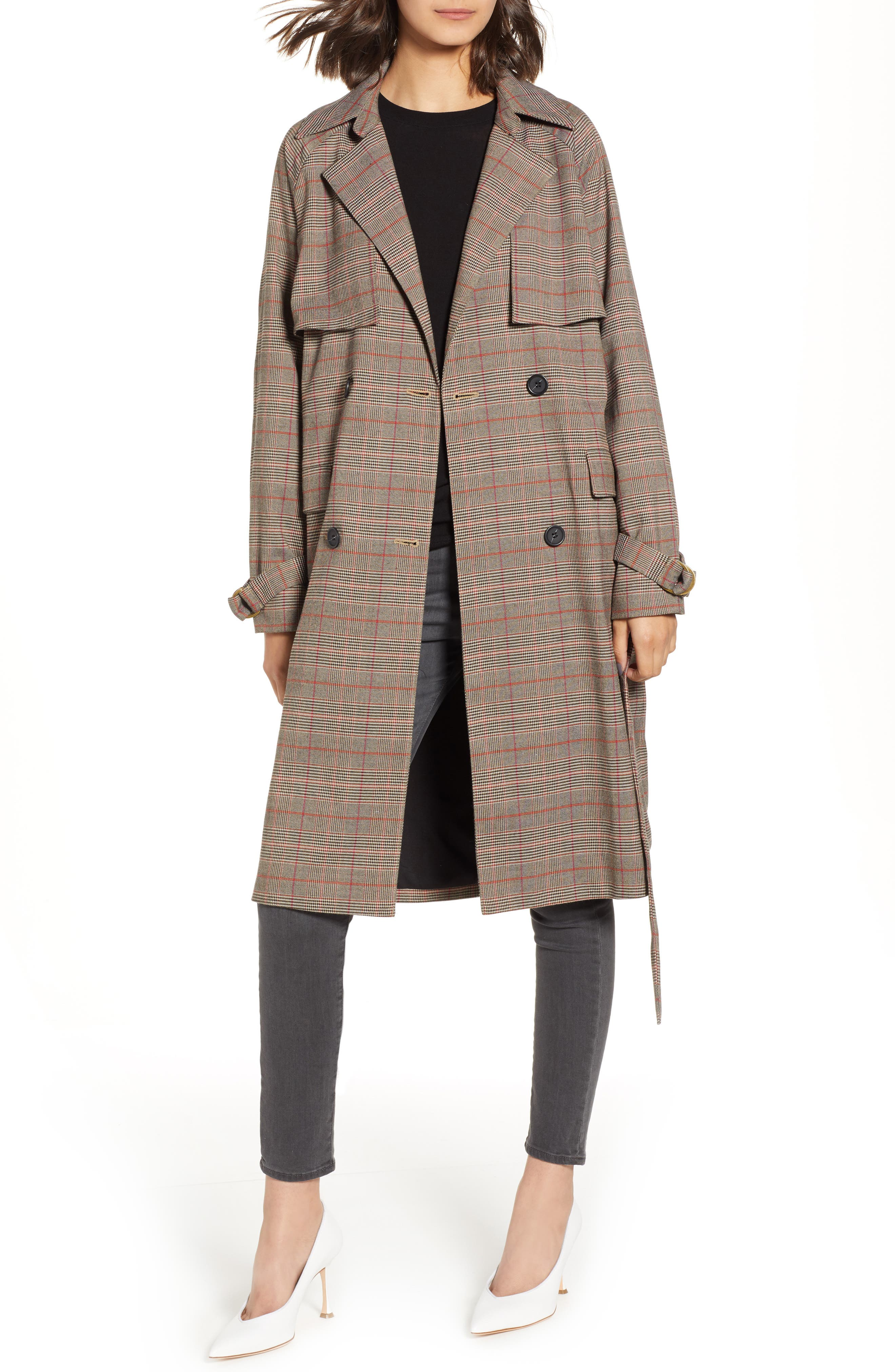 CHELSEA28 Plaid Trench Coat, Main, color, 235