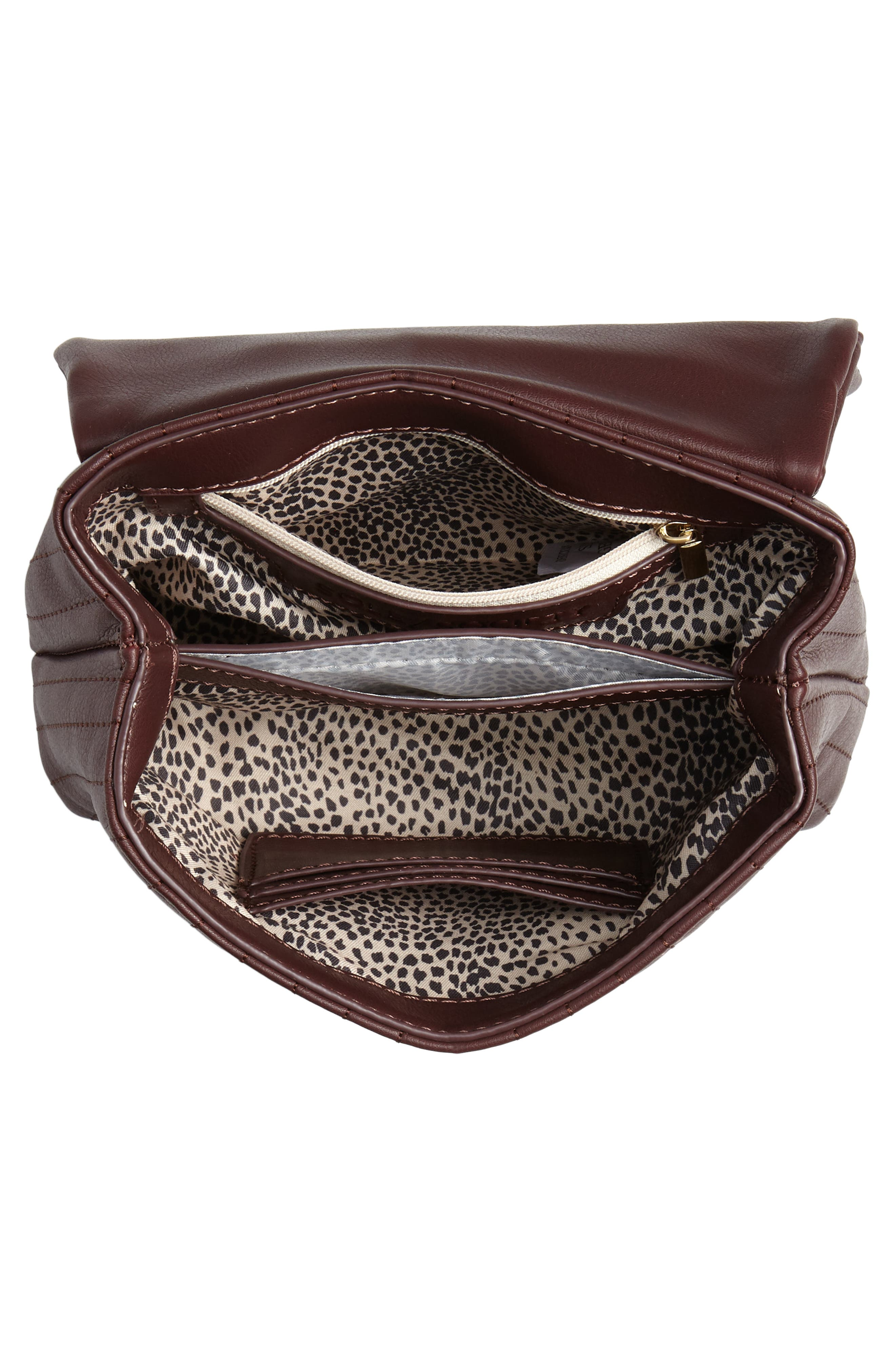 SOLE SOCIETY, Urche Faux Leather Crossbody Bag, Alternate thumbnail 5, color, OXBLOOD